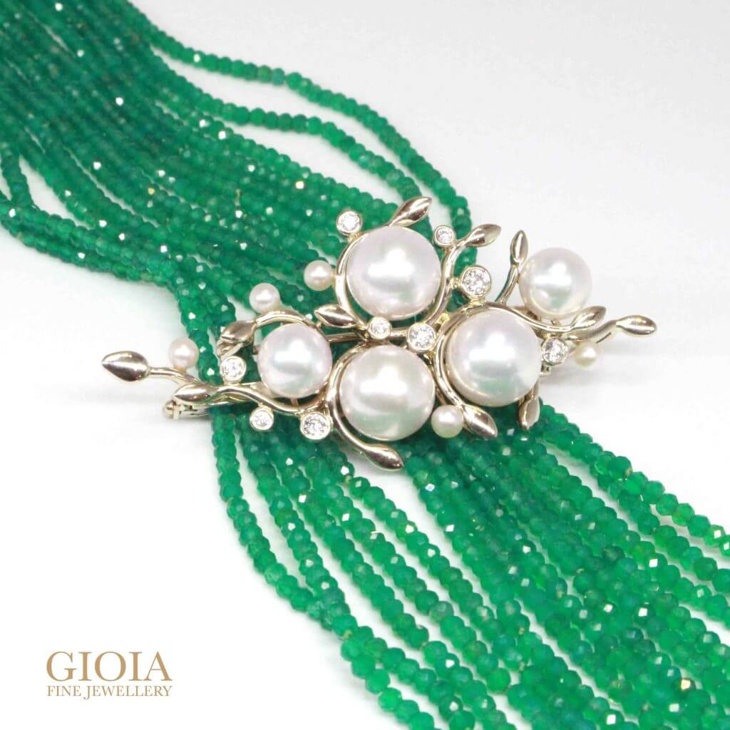 Customised pendant brooch with akoya pearls and round brilliant diamonds with emerald beads necklace | Local Trusted customised Jeweller