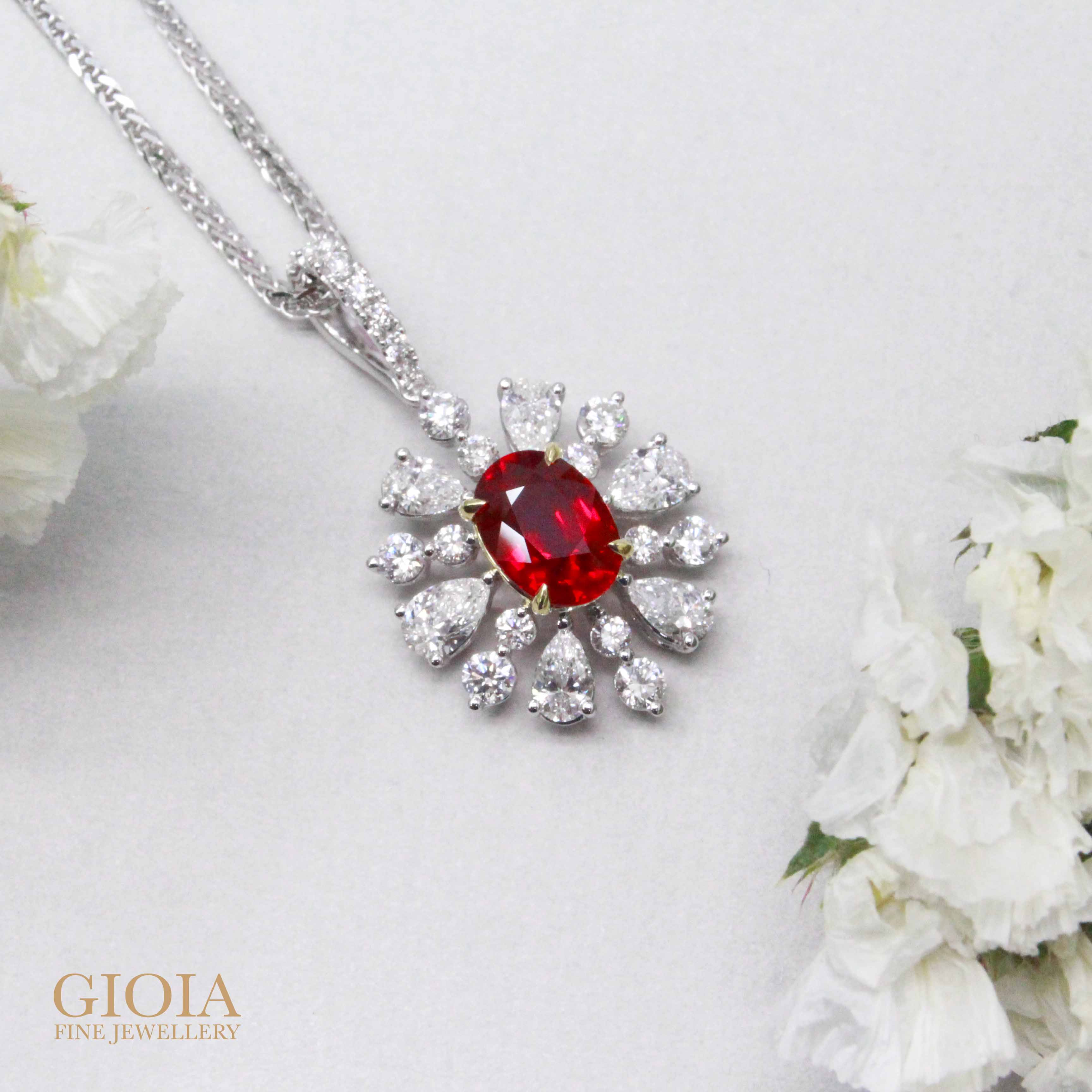 Pigeon Blood Ruby Pendant - Customised unheated pigeon blood ruby with diamond   Local Singapore Trusted Jeweler
