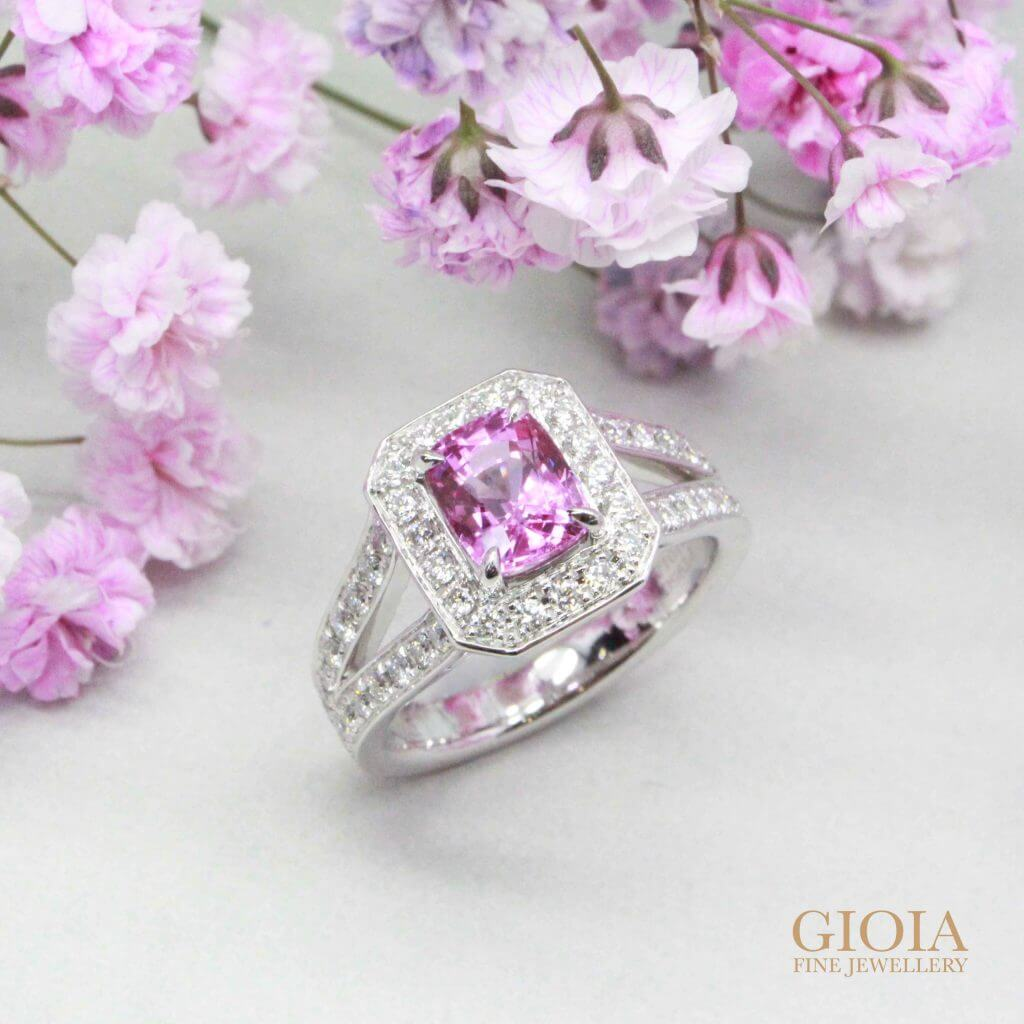 Pink Sapphire Halo Pave Ring - Surrounded with round brilliance diamond and custom set in PT950 Platinum gold | Local trusted bespoke Jeweler