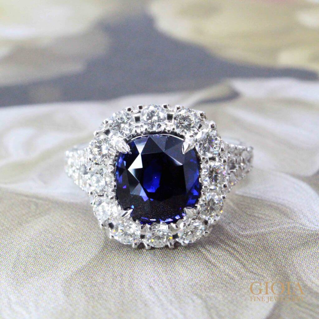 Royal Blue Sapphire Halo Diamond Ring - custom made jewellery with sapphire gemstone | Local Singapore Trusted custom Jeweller