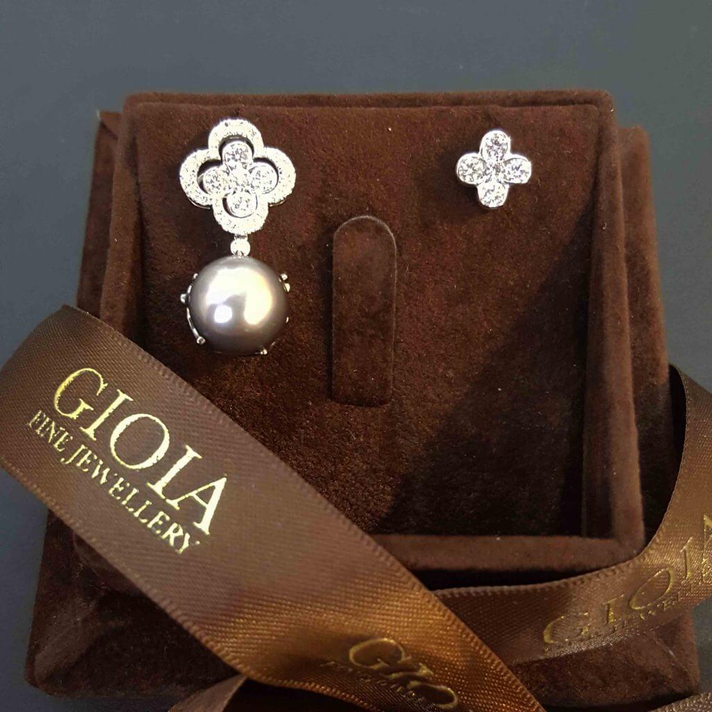Unique Clove Leaf Diamond Pearl Dangle Earring - Diamond Stud   Local Singapore Trusted Custom made Jeweller