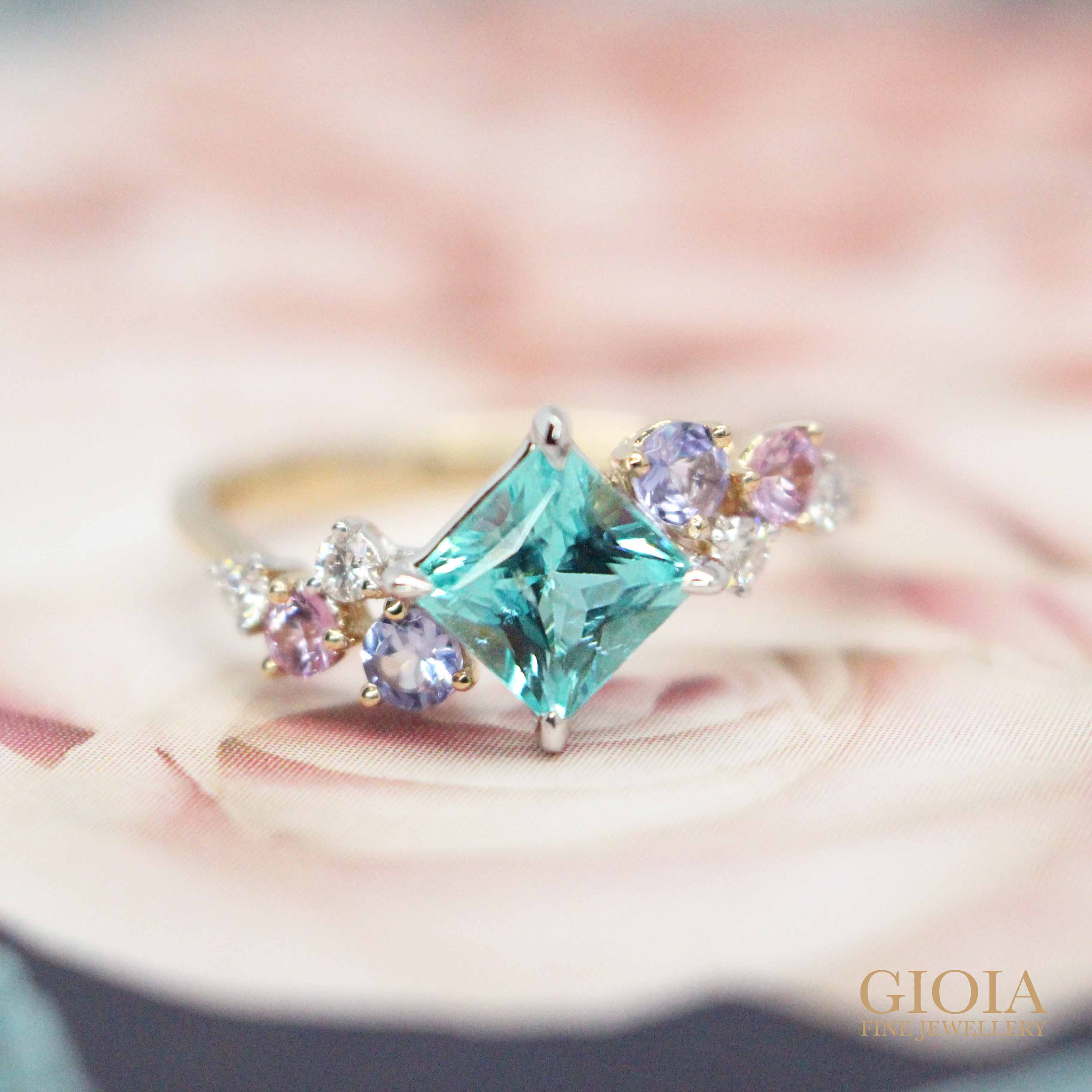 Paraiba & blue and pink Coloured Sapphire Gemstone Ring, unique anniversary gift - Customized with brazil or Mozambique paraiba tourmaline gemstone | Local Singapore customised jeweler
