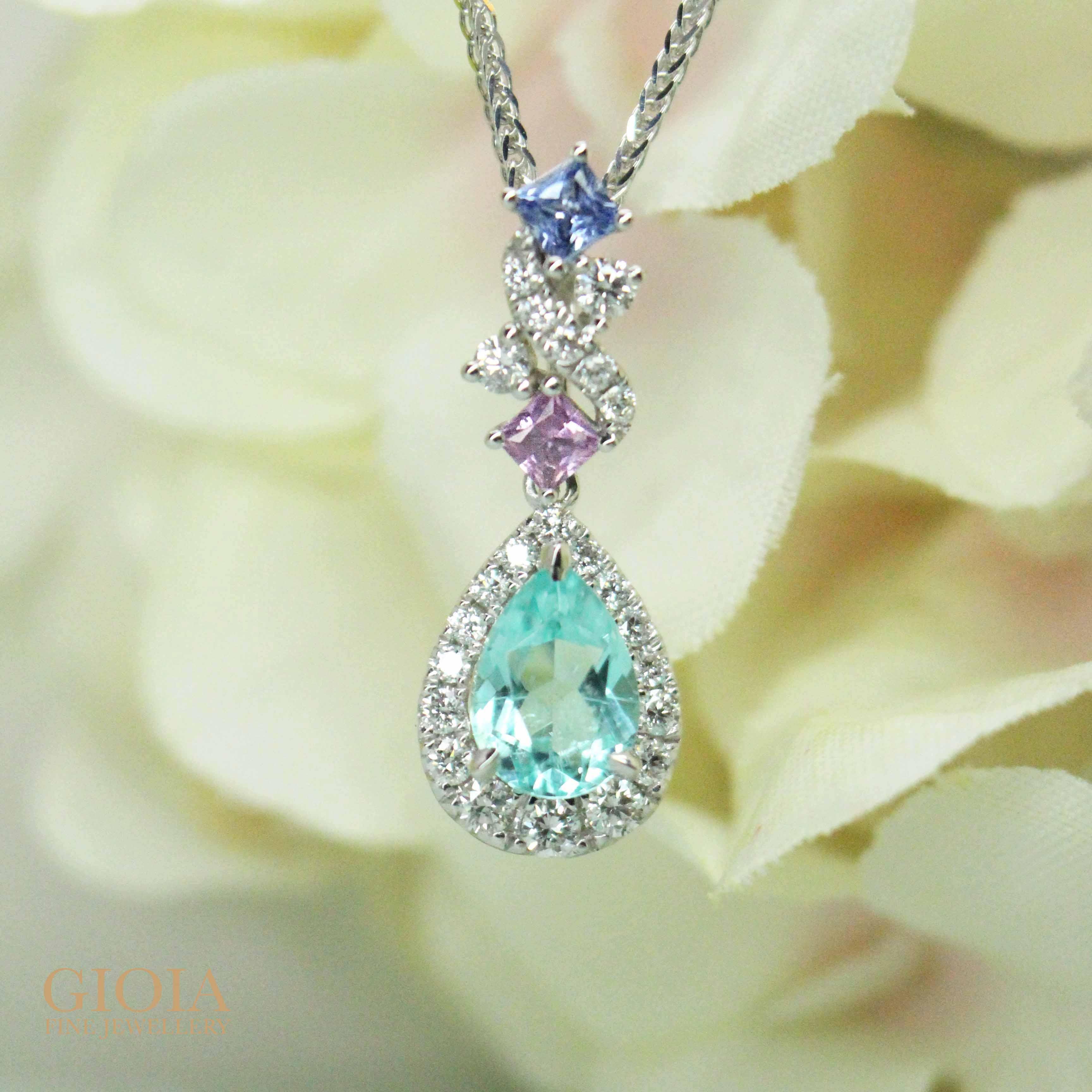 Paraiba Tourmaline with sapphire coloured gemstone Pendant | Local Singapore Customised Jeweller