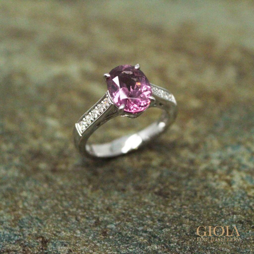 Purplish Spinel coloured gemstone Engagement Ring with pave Filigree design | Local Singapore Customised Jeweller