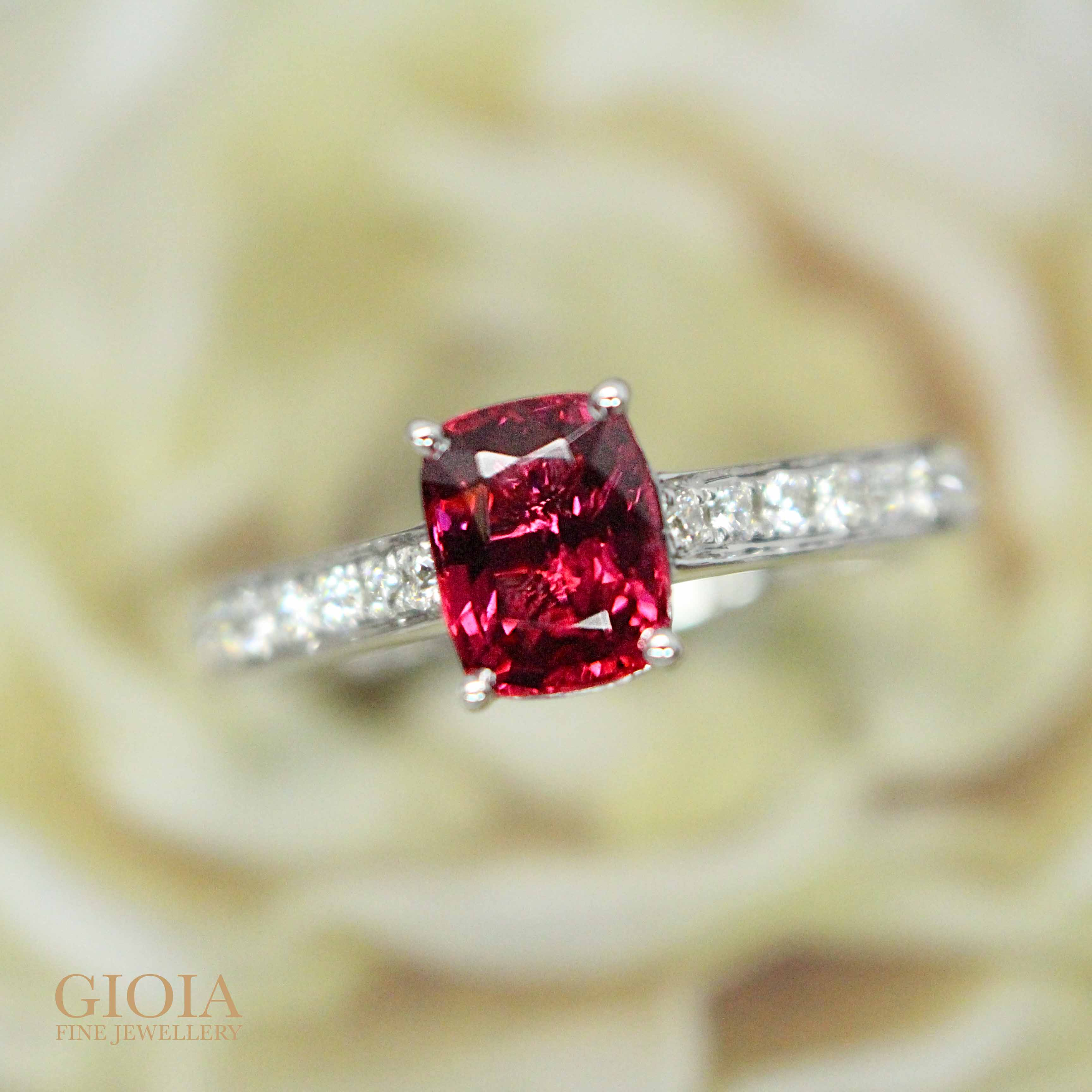 Red Spinel coloured gemstone for a unique Wedding proposal - customised spinel wedding ring | Singapore local Customised jeweller