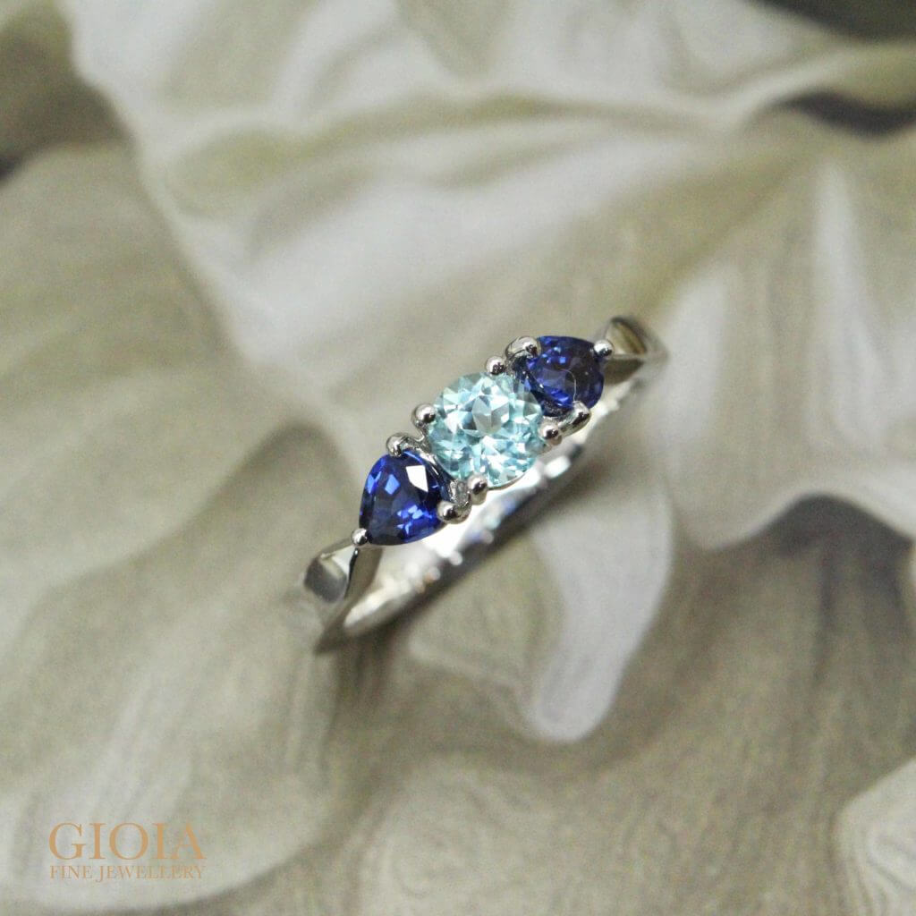 Bespoke Engagement Ring can be custom made to all design. Coloured gemstones can range from blue Sapphire to paraiba tourmaline. GIOIA Fine Jewellery