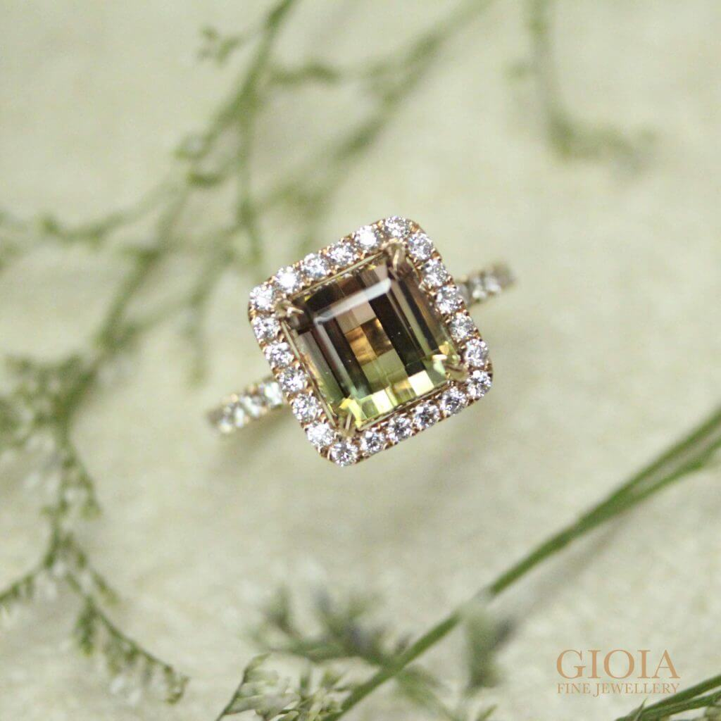 Bi Tourmaline coloured gemstone jewel custom set with Halo Diamond Ring | Local customised Jeweller