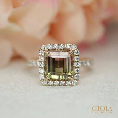 Bi Tourmaline coloured gemstone jewel custom set with Halo Diamond Ring | Local customised Jeweller