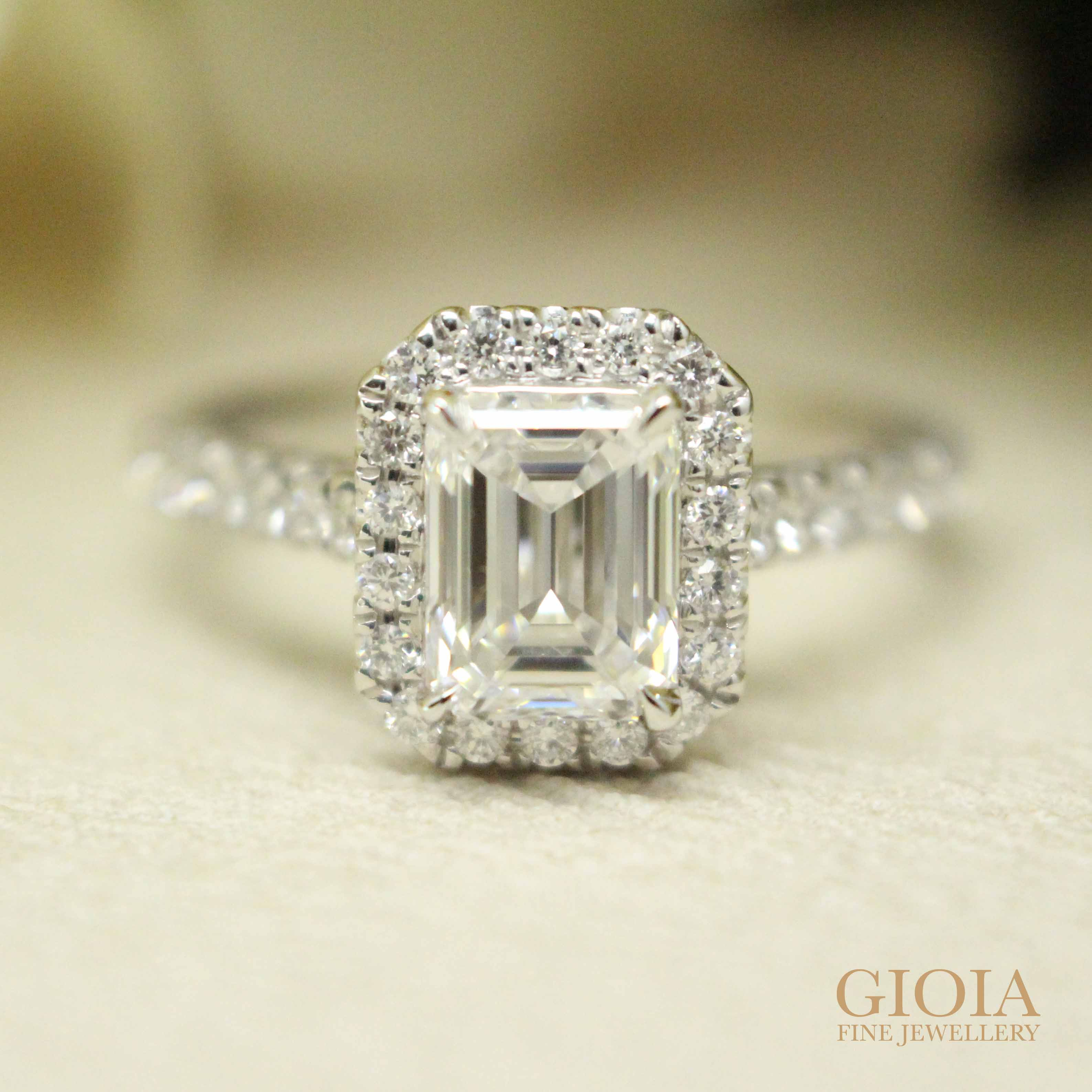 Emerald-cut diamond Proposal Ring for wedding engagement | Customised wedding proposal ring with round brilliant, cushion, emerald cut diamond at GIOIA Fine Jewellery