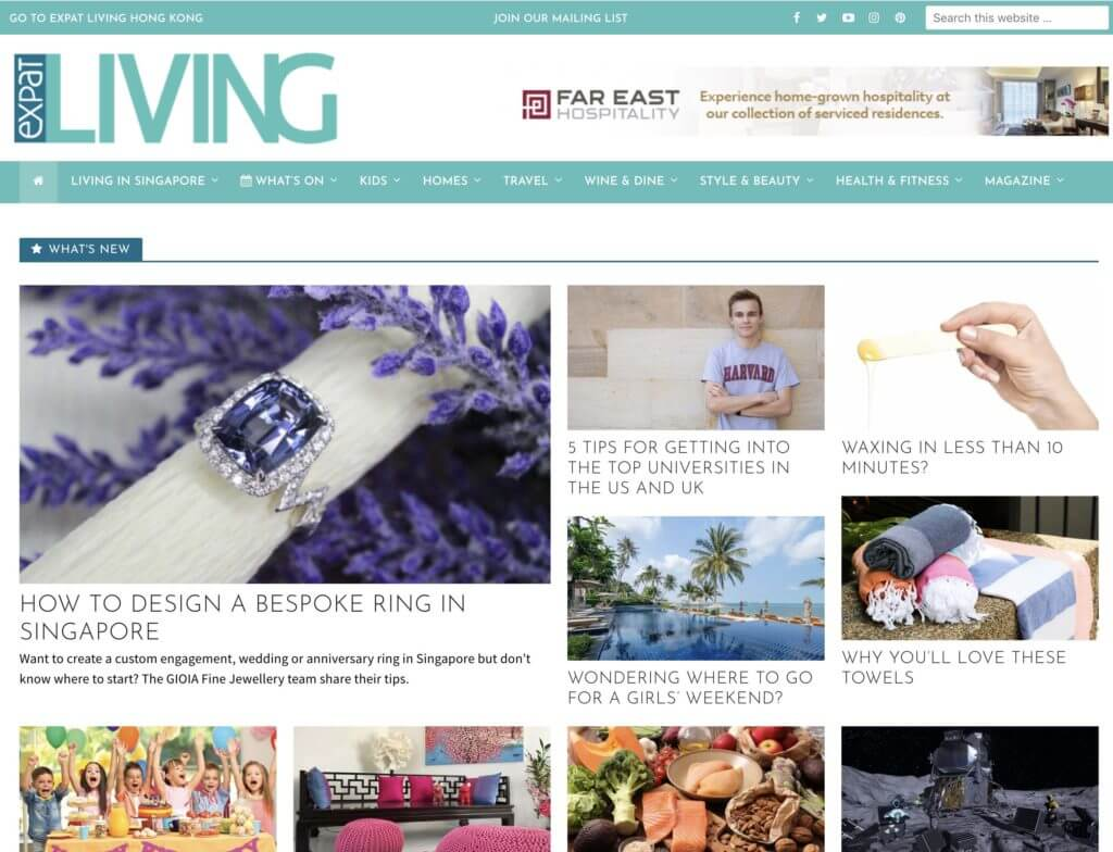 Expat Living - Recommendation for wedding engagement and customised jewellery gift. Local Singapore private Jeweller