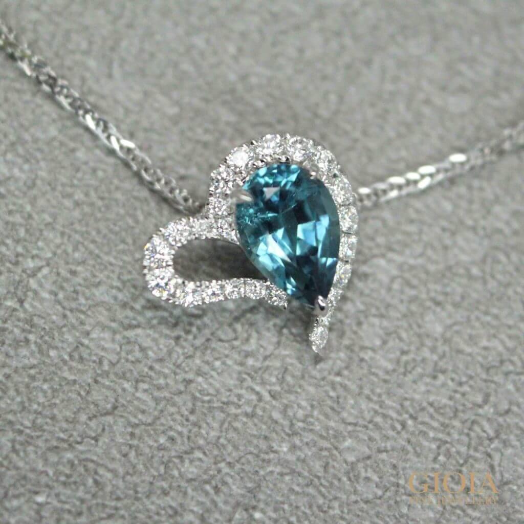 Heart shaped blue indicolite tourmaline pendant - customised as a wedding jewellery gift | Customised Jewellery