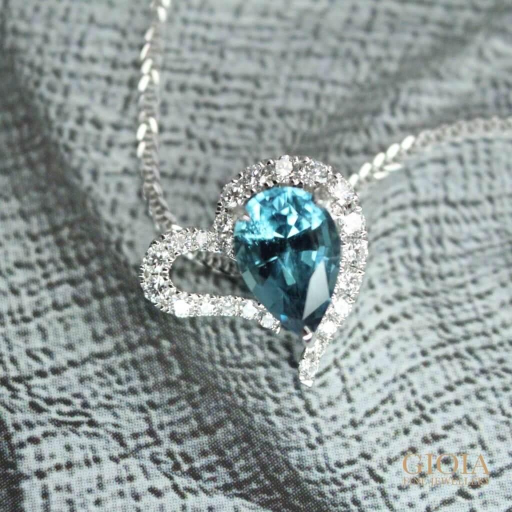 Heart shaped blue tourmaline pendant - customised as a wedding jewellery gift | Customised Jewellery
