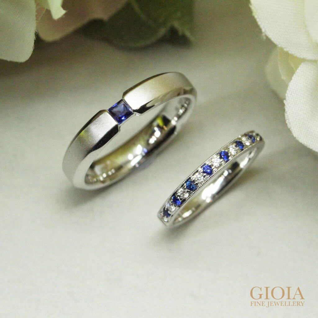 customised wedding bands with blue coloured sapphire gemstone | Unique wedding ring custom made by GIOIA Fine Jewellery