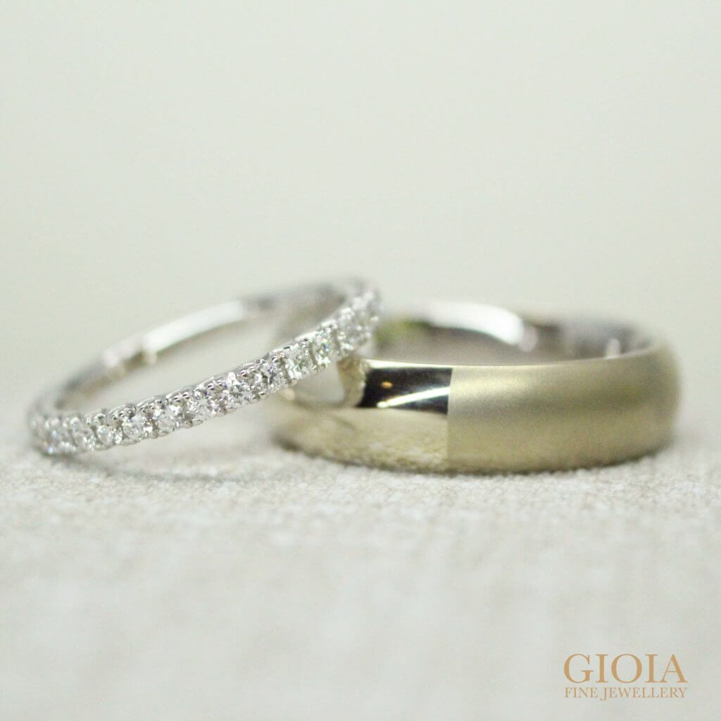 diamond white wedding bands and natural white gold ring | Local Singapore customised wedding bands