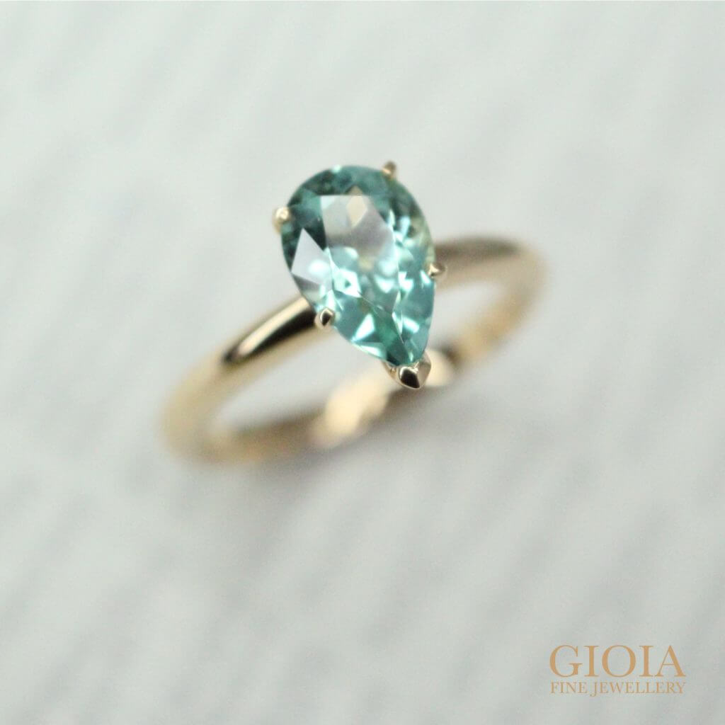 Bluish Green Tourmaline Engagement Ring - Customised your unique wedding proposal ring starts here at GIOIA Fine Jewellery. Singapore Private custom made jeweller