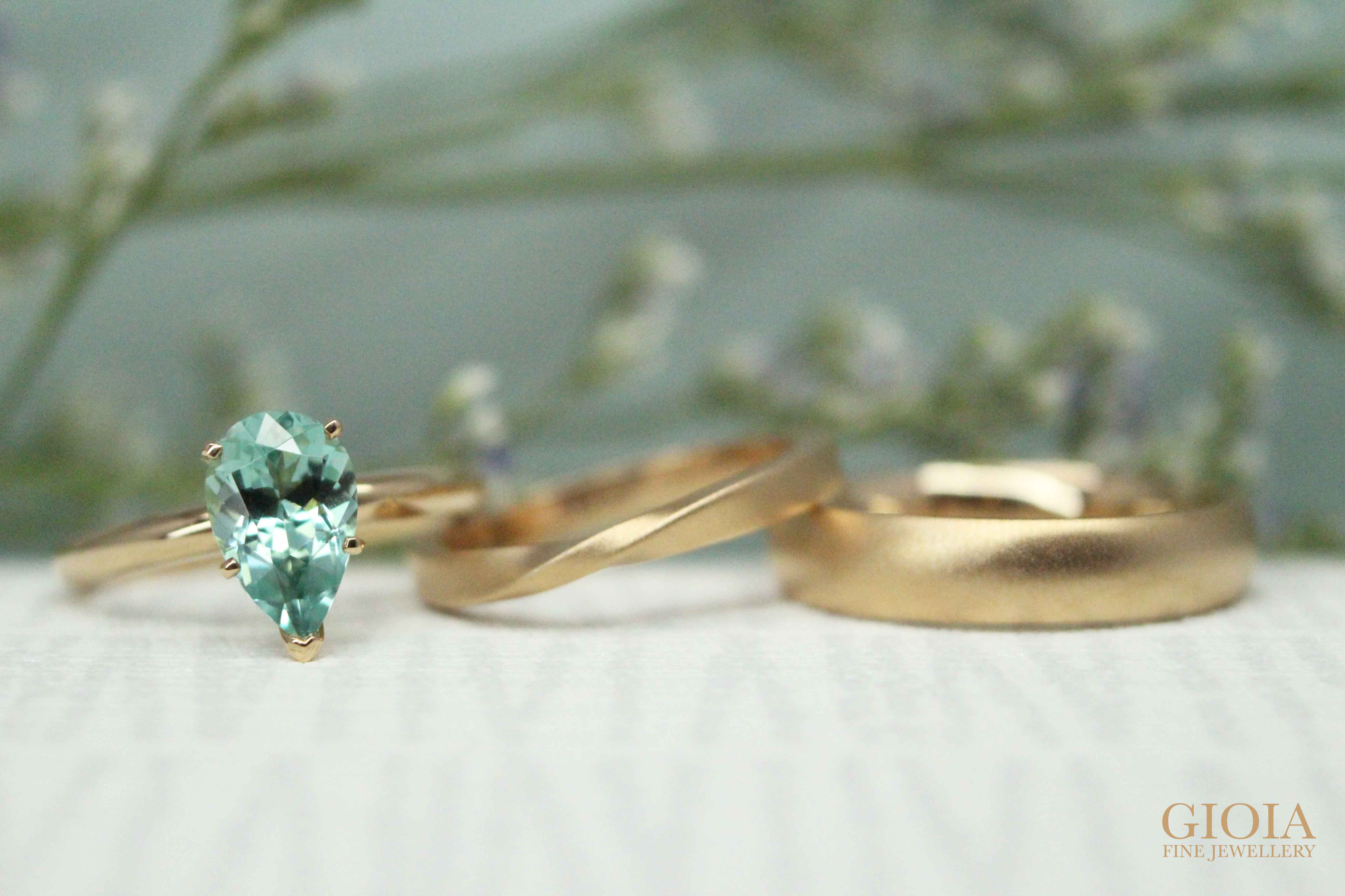 Bluish Green Tourmaline Engagement Ring with wedding bands - customised with coloured gemstone   Local Bespoke Jeweller in customised jewellery