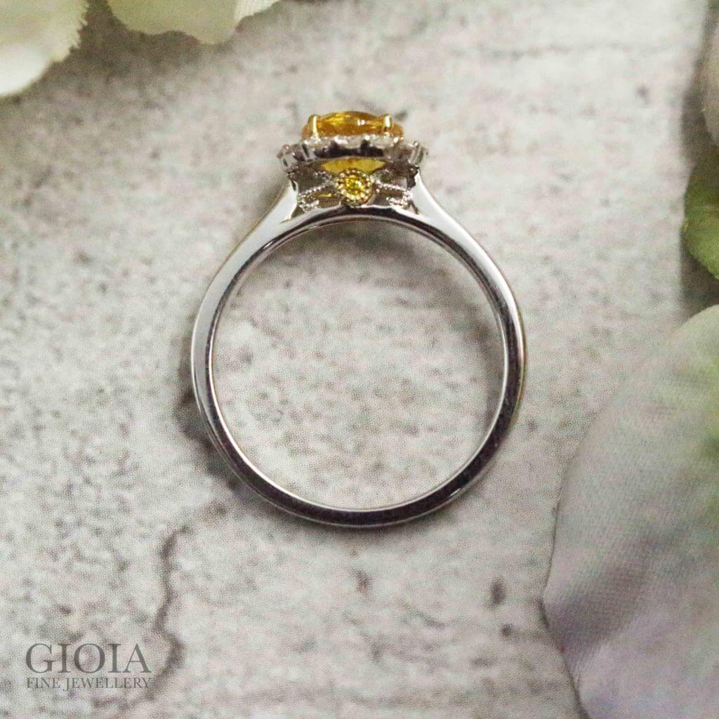 Customised Yellow Sapphire gemstone Proposal Engagement Ring - Custom made with round brilliant diamond in halo setting | Singapore Local bespoke jeweller