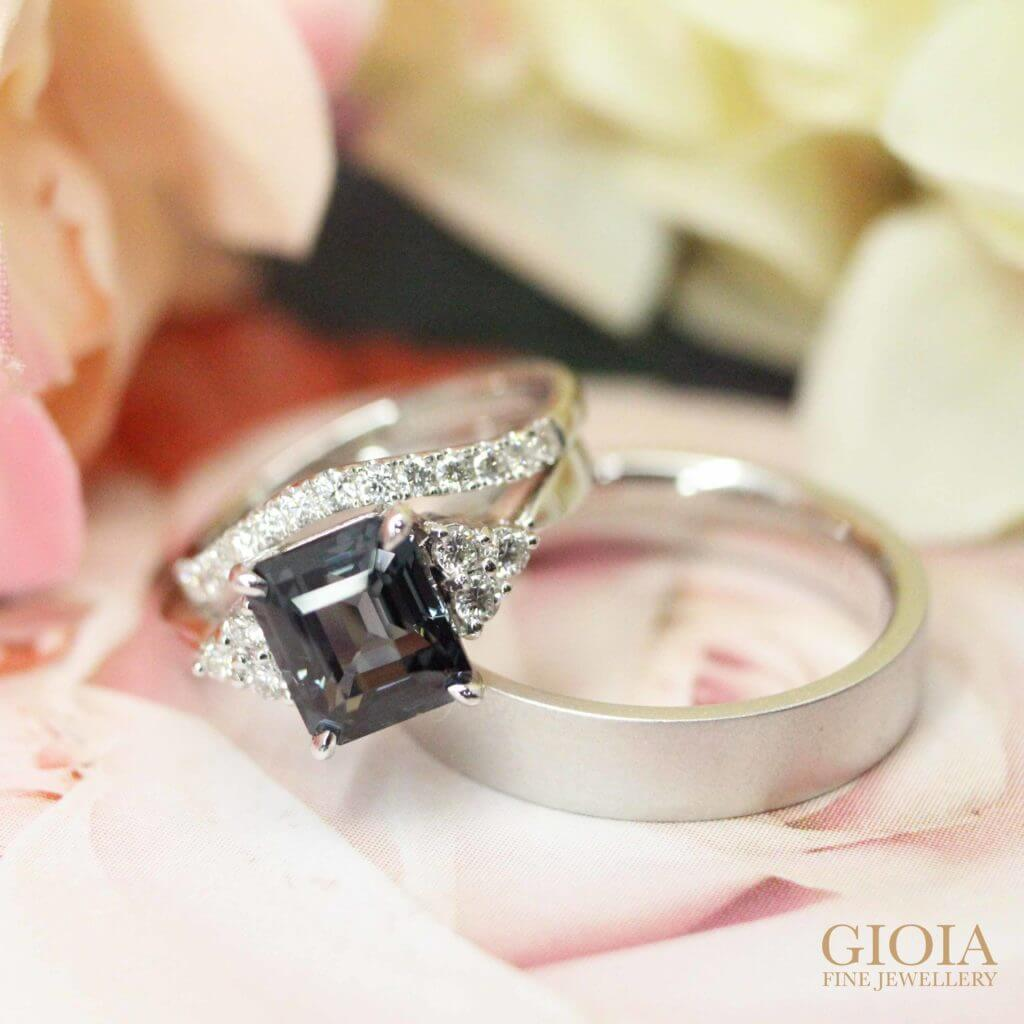 Custom made Stackable Wedding Bands with Customised Spinel Engagement Ring. Having to wear your engagement ring together with your wedding bands daily? You can customised your wedding bands to be stackable to your ring at GIOIA | Local Private Bespoke Jeweller in Fine Jewelry