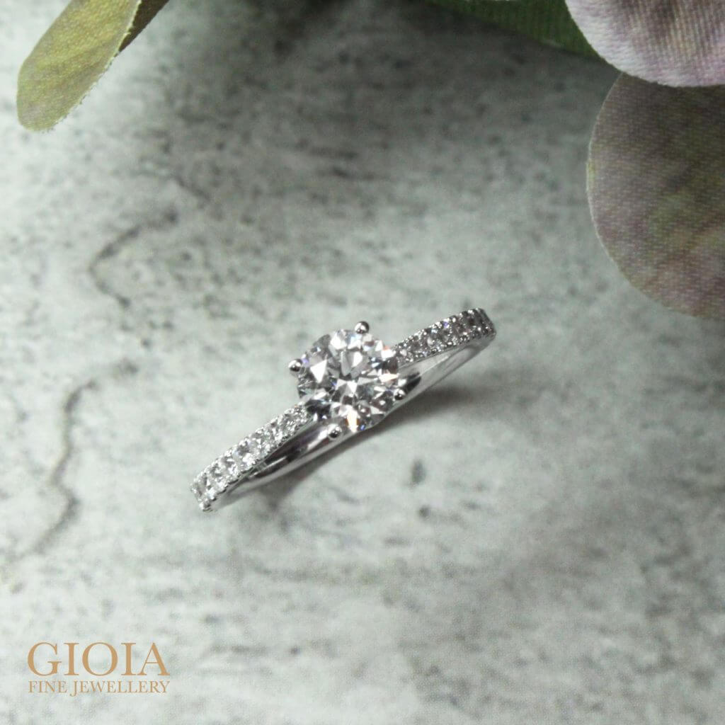 Diamond wedding proposal Ring - customised with round brilliant diamond and micro set with diamond setting on the tapered ring bands | Local Designer jewellery at GIOIA Fine Jewellery