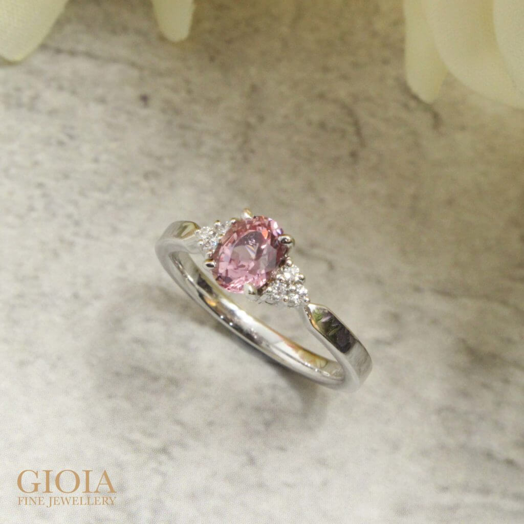 Padparadscha Sapphire Wedding Proposal Ring - customised engagement ring with rare orange pink sapphire gemstone | Local Bespoke Designer Boutique Jeweller