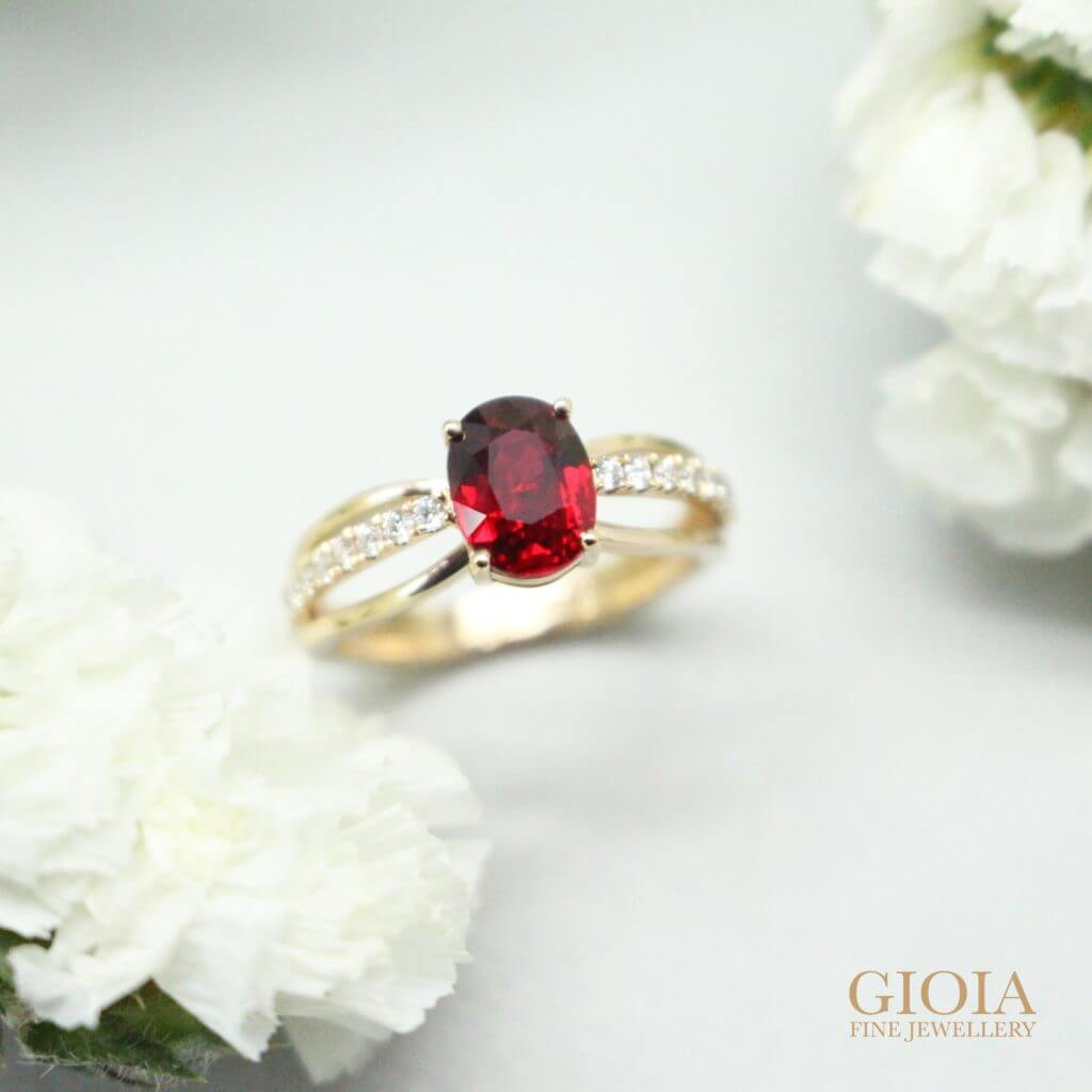 Unheated Pigeon Blood Ruby the premium quality in the ruby gemstone. Customised to a wedding Engagement Ring | Bespoke Jewellery with GIOIA Fine Jewellery
