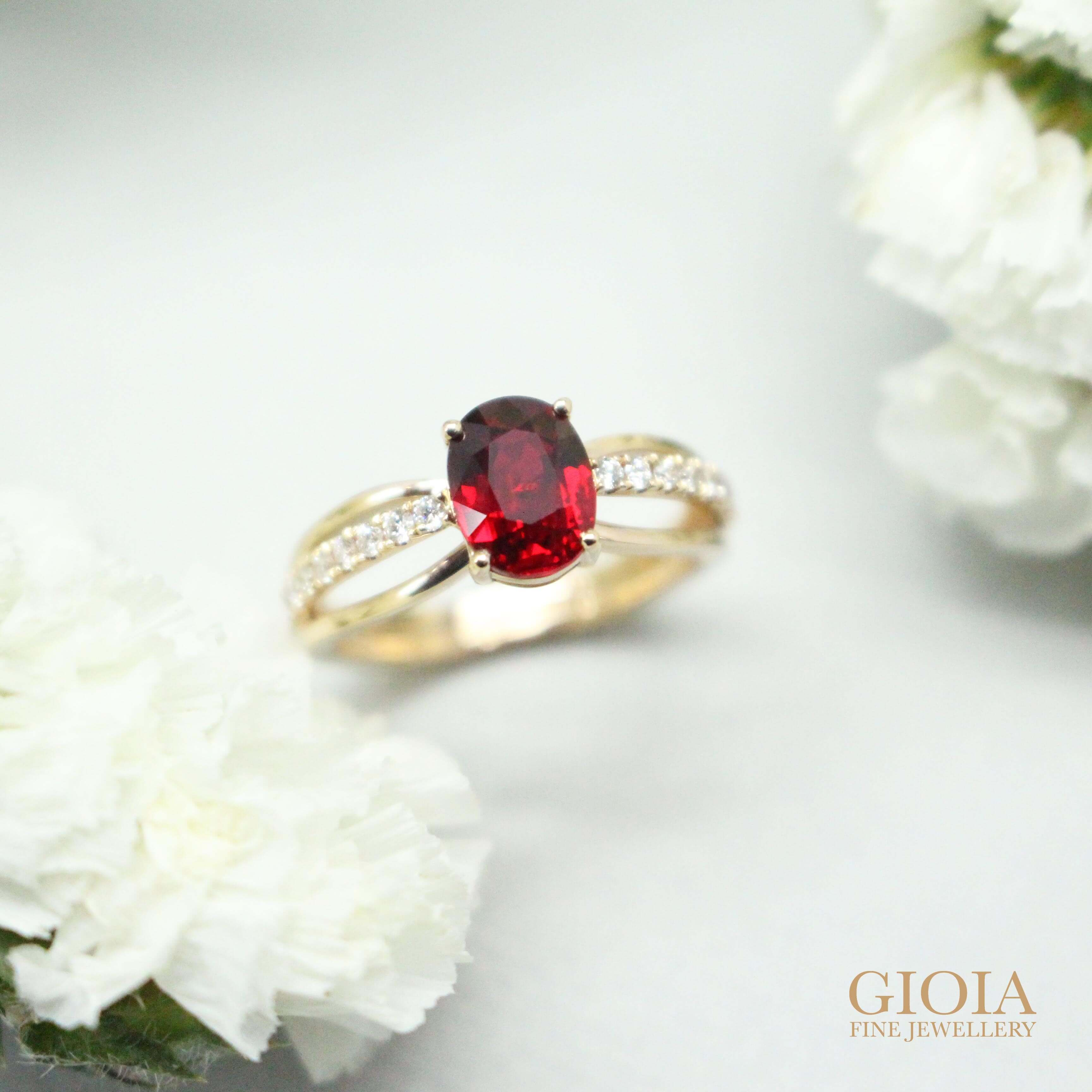 Unheated Pigeon Blood Ruby the premium quality in the ruby gemstone. Customised to a wedding Engagement Ring   Bespoke Jewellery with GIOIA Fine Jewellery