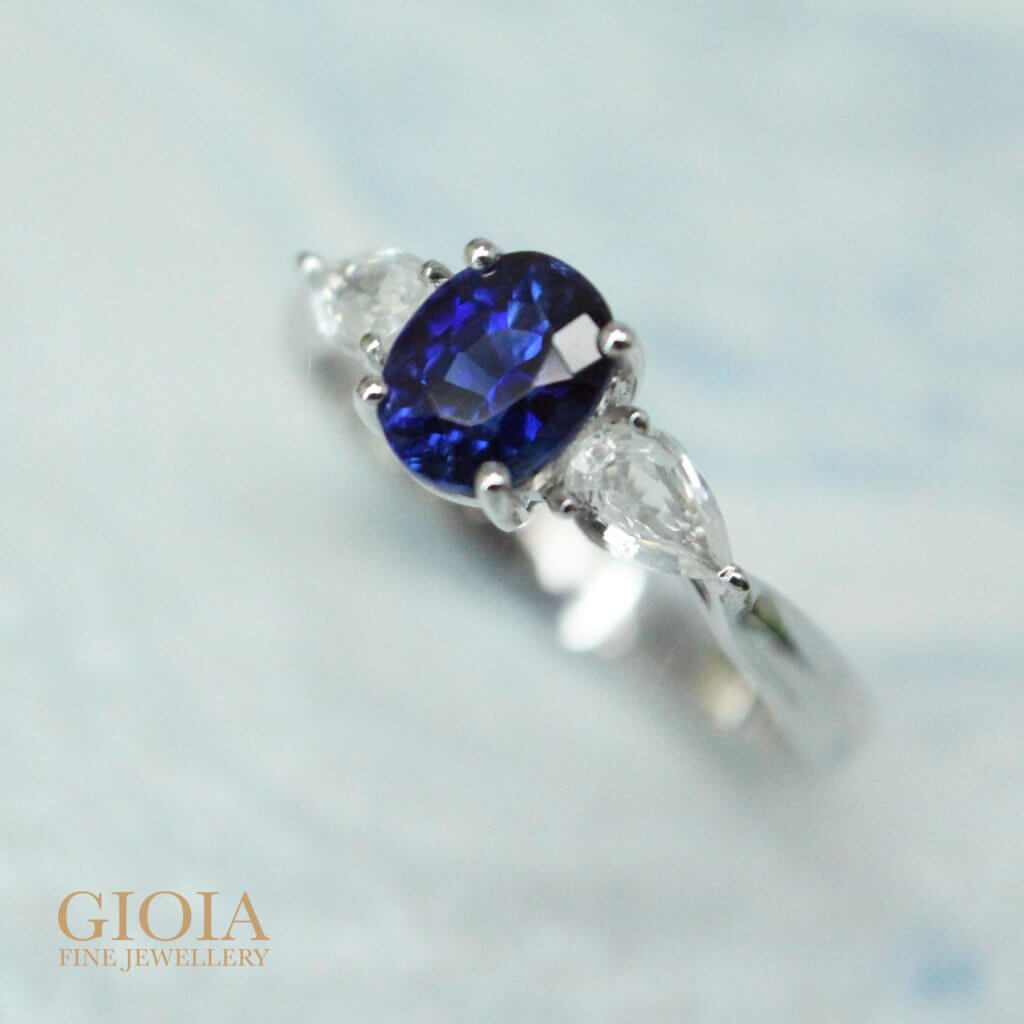 Royal blue unheated sapphire with white sapphire proposal ring - Customised Wedding Engagement Ring with GIOIA Fine Jewellery | One of a kind bespoke jewellery for a unique wedding proposal