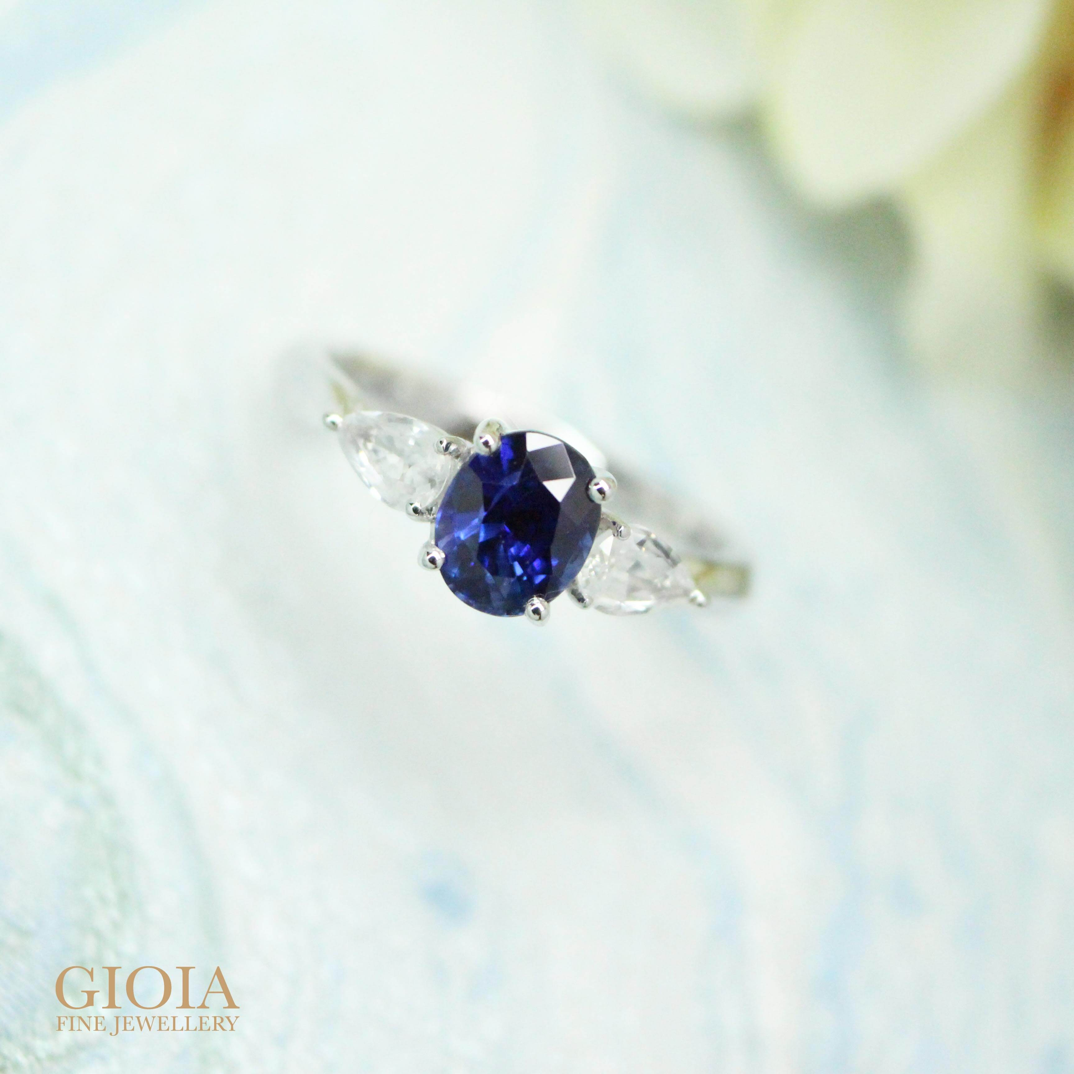 Royal blue unheated sapphire with white sapphire wedding ring   Customised engagement Ring with GIOIA Fine Jewellery
