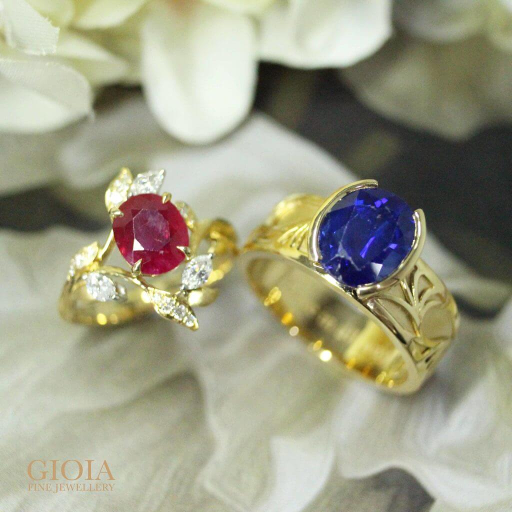 Ruby and Blue Sapphire gemstone ring for customised set ring with round brilliant diamonds and natural flow designs | Resetting jewellery with bespoke jewellery