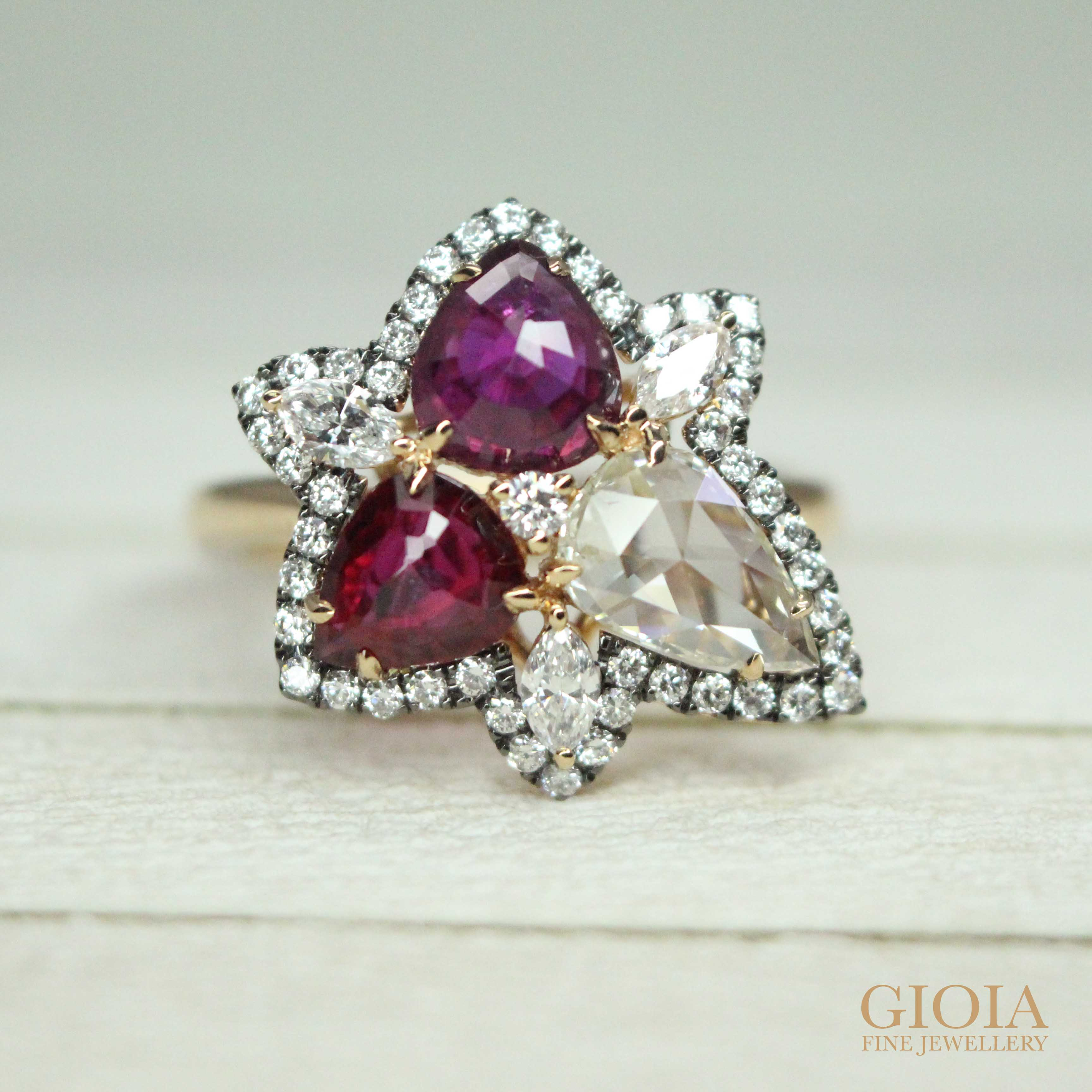 Modified rose-cut shape Ruby and Diamond, customised to a cluster ring with round brilliant halo diamond | Singapore Private Jeweller in bespoke customised fine jewellery - Designer Jewellery with unique personal style