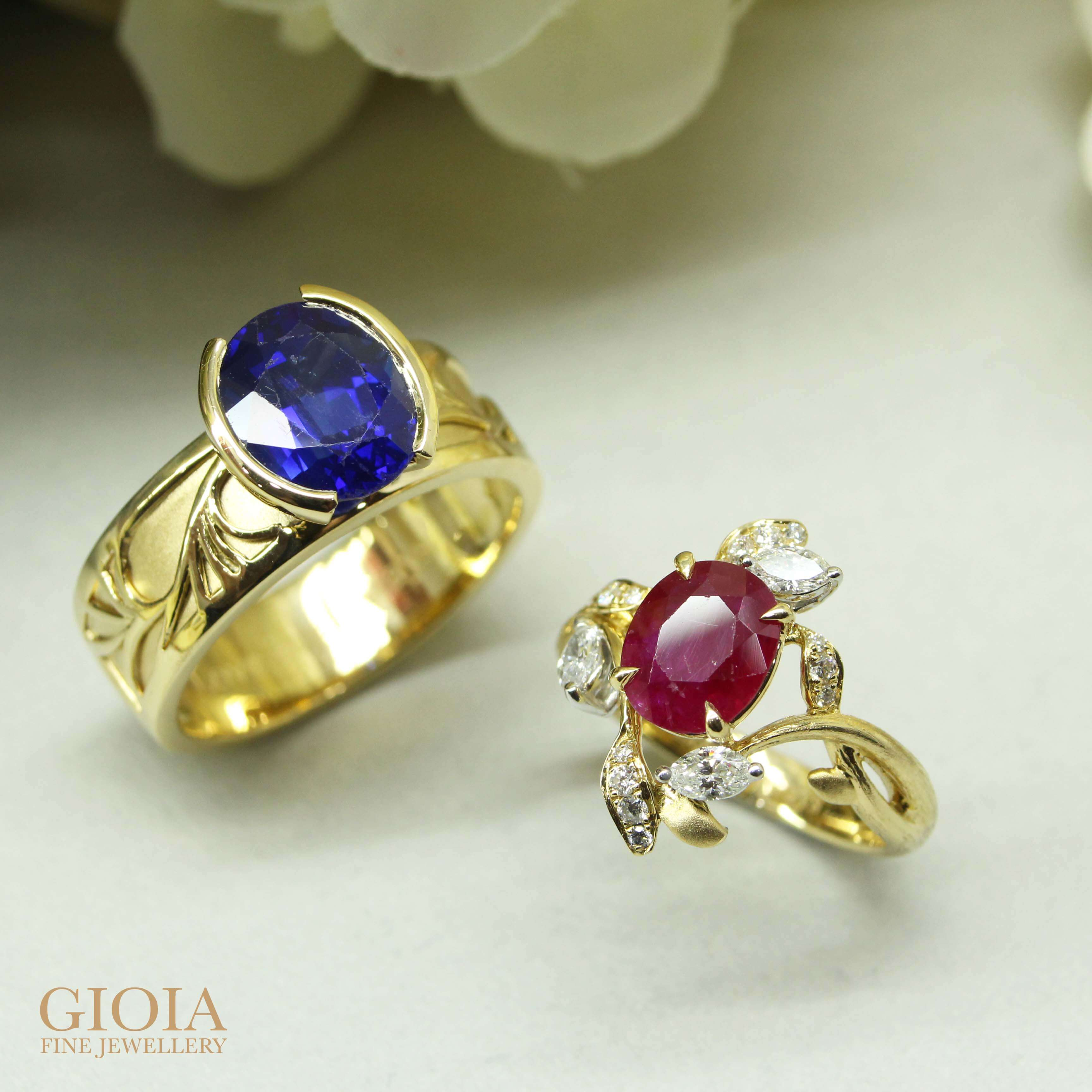 Ruby and Blue Sapphire ring for customised set | Resetting jewellery with bespoke jewellery