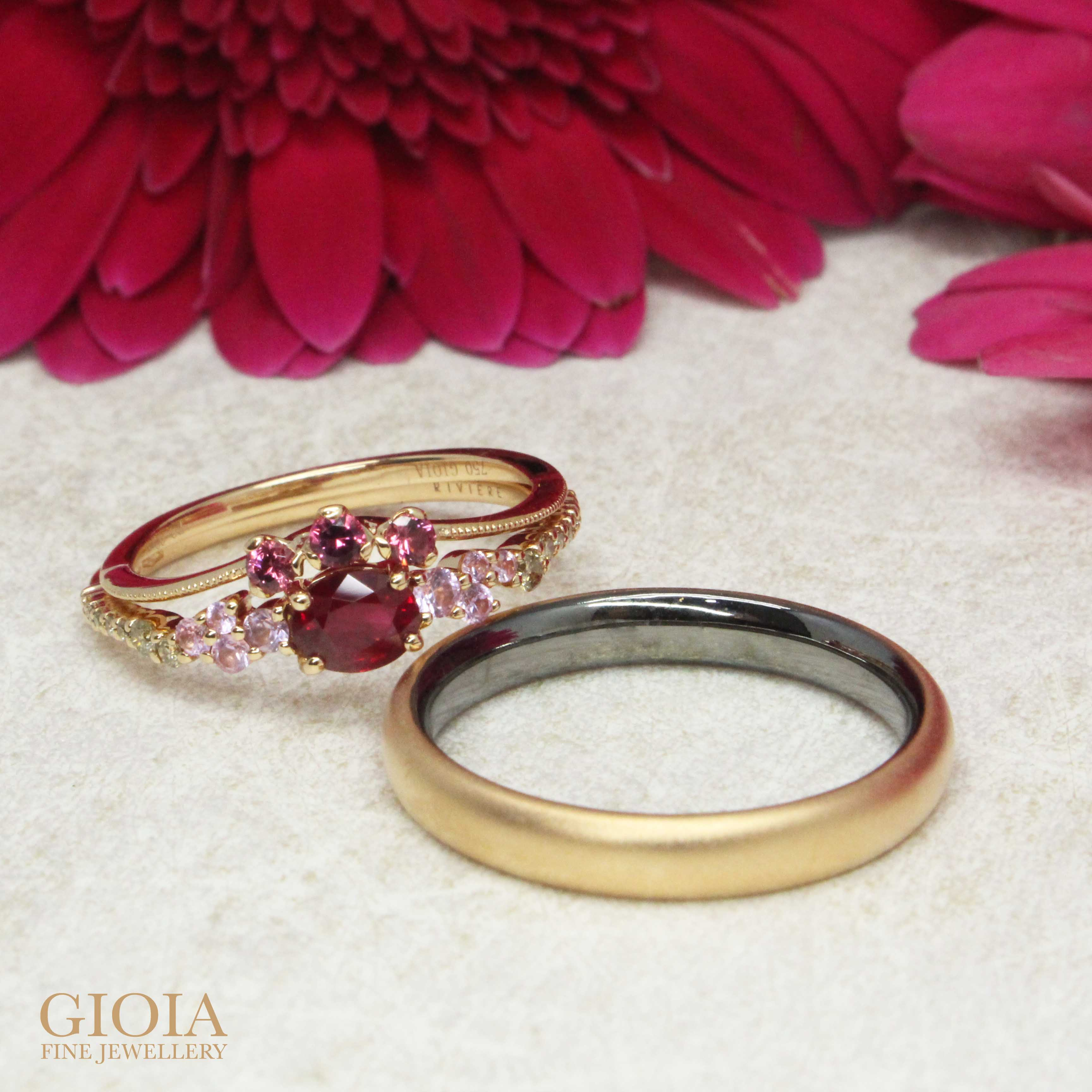 Customised Coloured Gemstone Ruby & Spinel Engagement Rings stacking with Wedding Bands, custom made in 18k rose gold - Singapore Private Jeweller in customised fine jewellery
