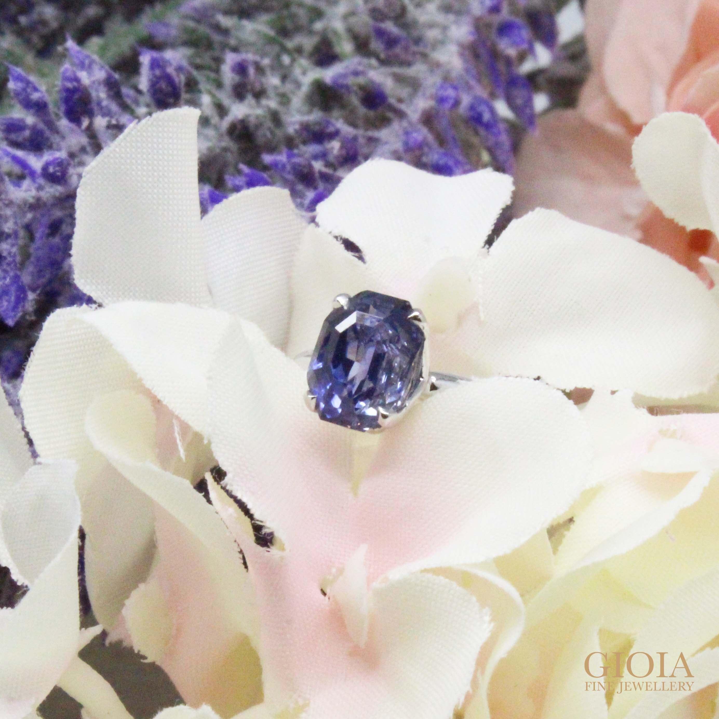 unheat blue sapphire wedding ring - customised wedding engagement ring with rare unheated blue sapphire | Local Singapore Private Jeweller
