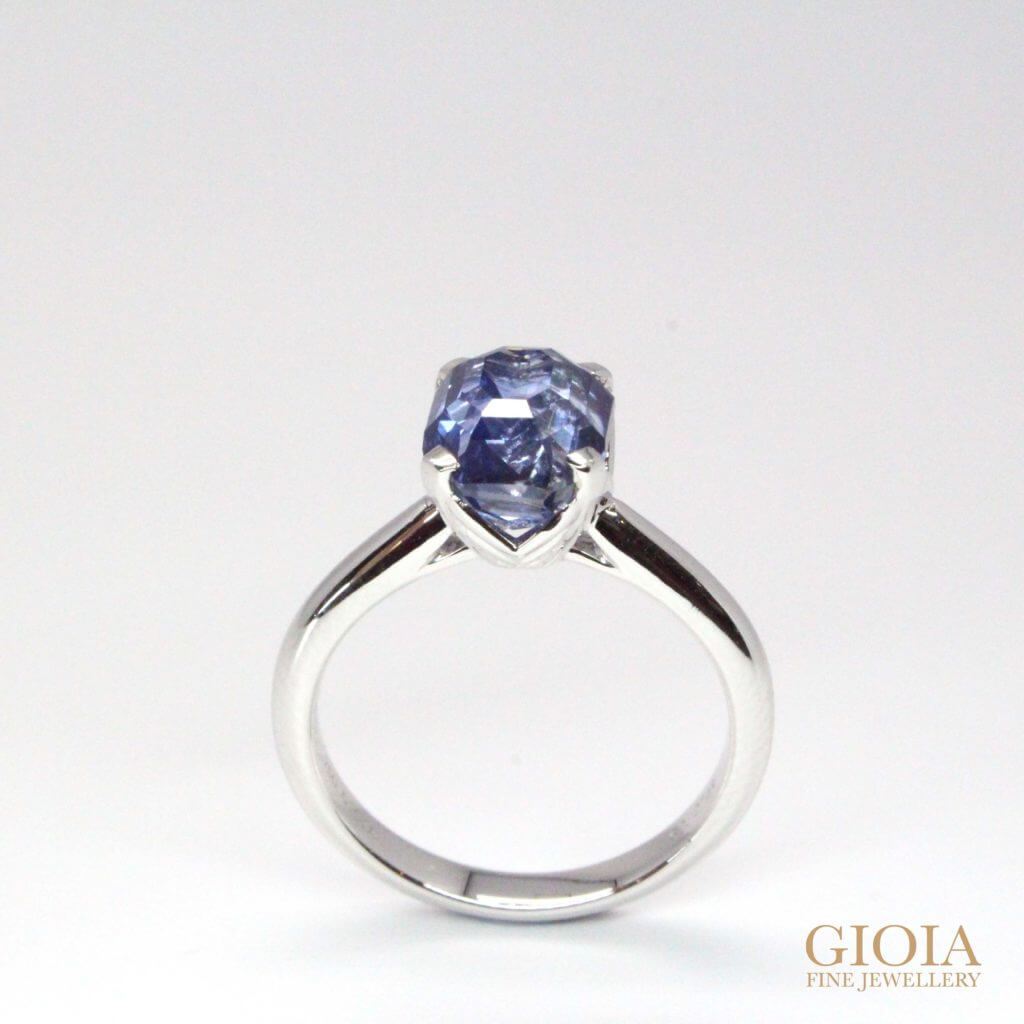 unheat blue sapphire wedding ring - customised wedding engagement ring with rare unheated blue sapphire | Local Singapore Private Jeweller