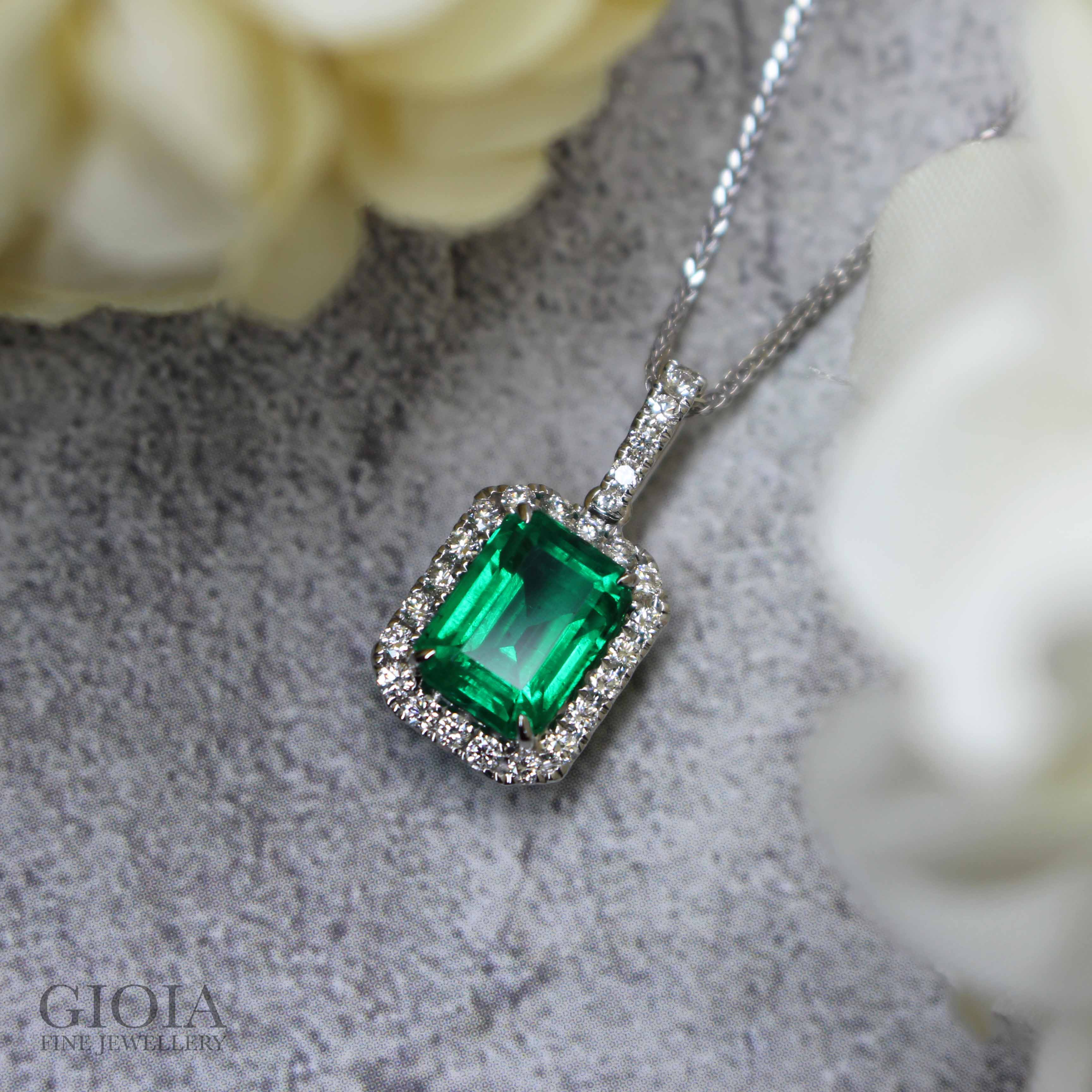 Untreated No Oil Emerald Gemstone Pendant Customised with Halo Round Diamonds - Customised Fine Jewellery at GIOIA Fine Jewellery, with quality vivid no oil (non treated) emerald gemstone | Local Singapore Private Jewellery in bespoke customised Jewellery