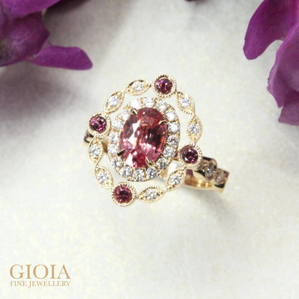 Customised Padparadscha Sapphire Wedding Engagement Ring, orange and pink coloured shade sapphire | Local Singapore customised fine jeweller boutique in customised wedding ring