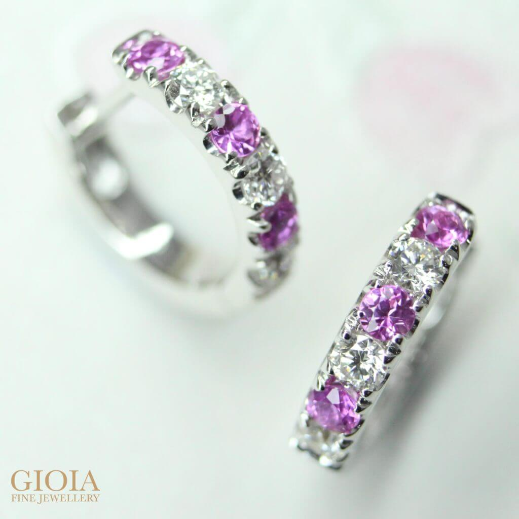 Pink Sapphire Gemstone custom set with round Brilliant Diamonds Earring Loop - Customised fine Jewellery for daily wear | Local Singapore Private Jeweller in customised jewellery, custom made to your design