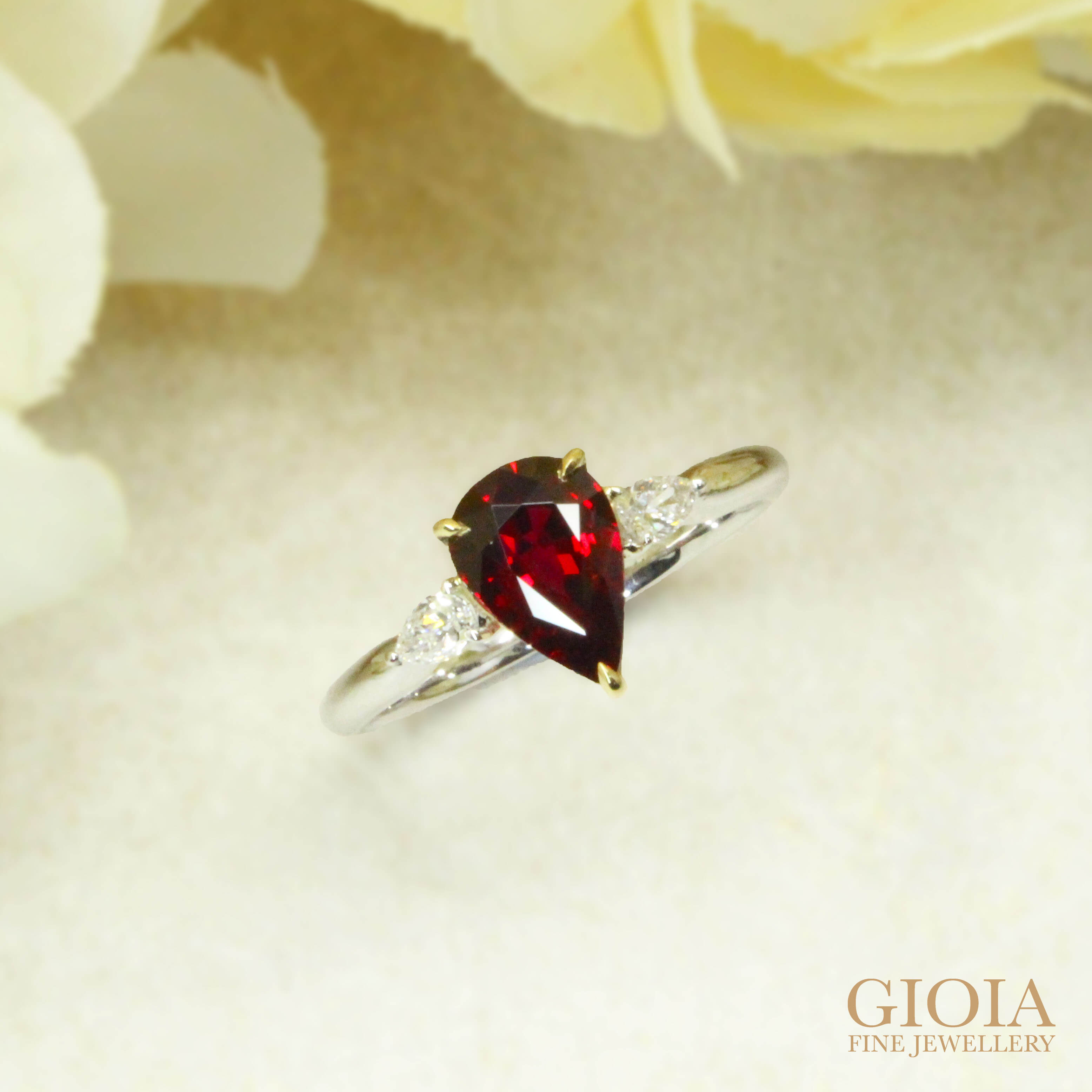 Unheated Pigeon Blood Ruby Proposal Ring - Customised ruby gemstone ring for engagement ring for proposal | Local Singapore Bespoke Jeweller in wedding Jewellery