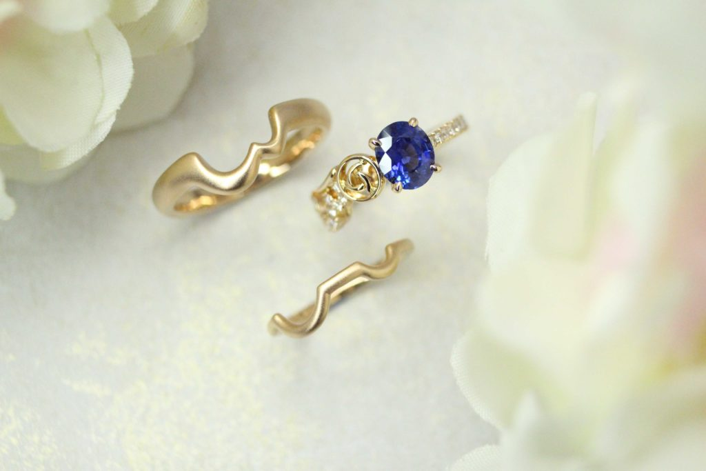Customised Blue Sapphire wedding engagement ring and stacking with Wedding Bands | Local Bespoke Jeweller in Customised Wedding Rings in Singapore