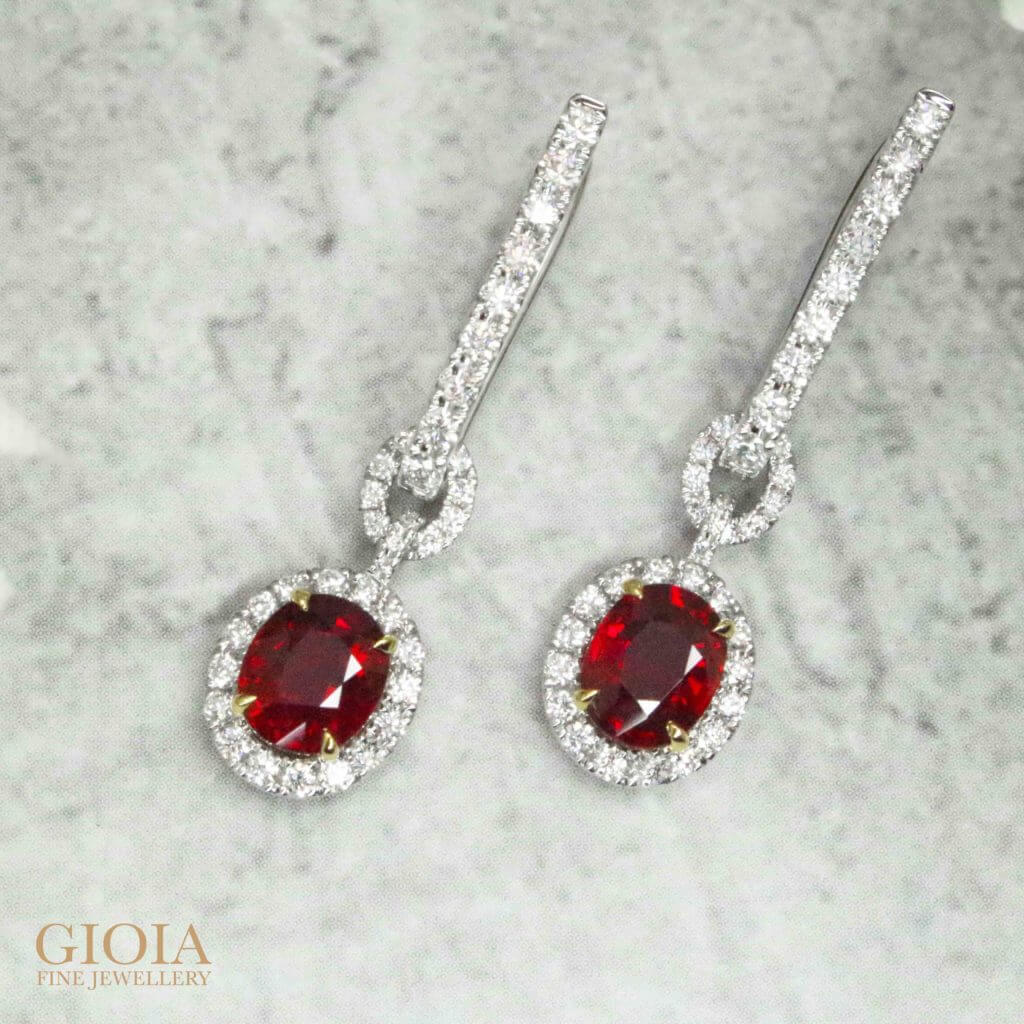 Gemstone Unheated Pigeon Blood Vivid Red Ruby Earring, customised fine jewellery | Local Singapore Private Jeweller in bespoke fine jewellery.