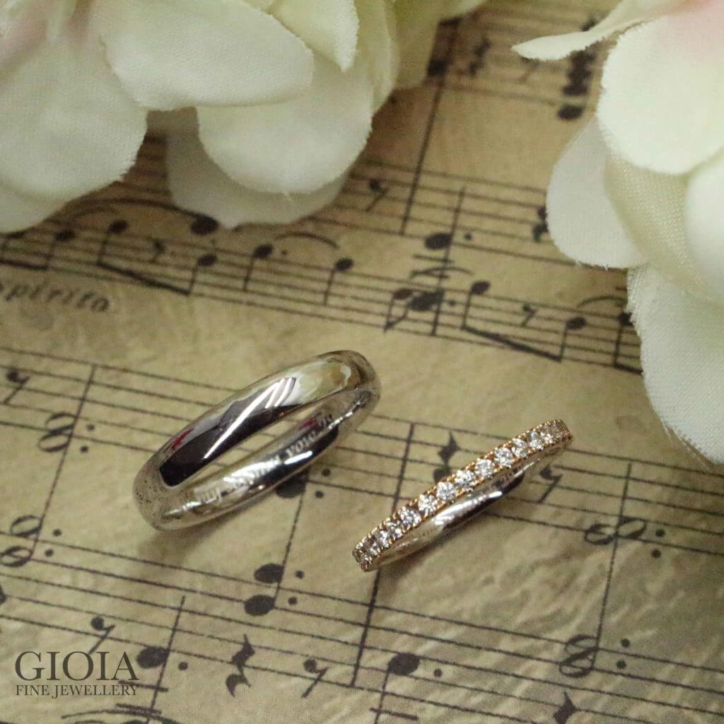 Wedding Bands Platinum and Rosegold Wedding Ring, customised wedding bands | Custom made wedding jewellery