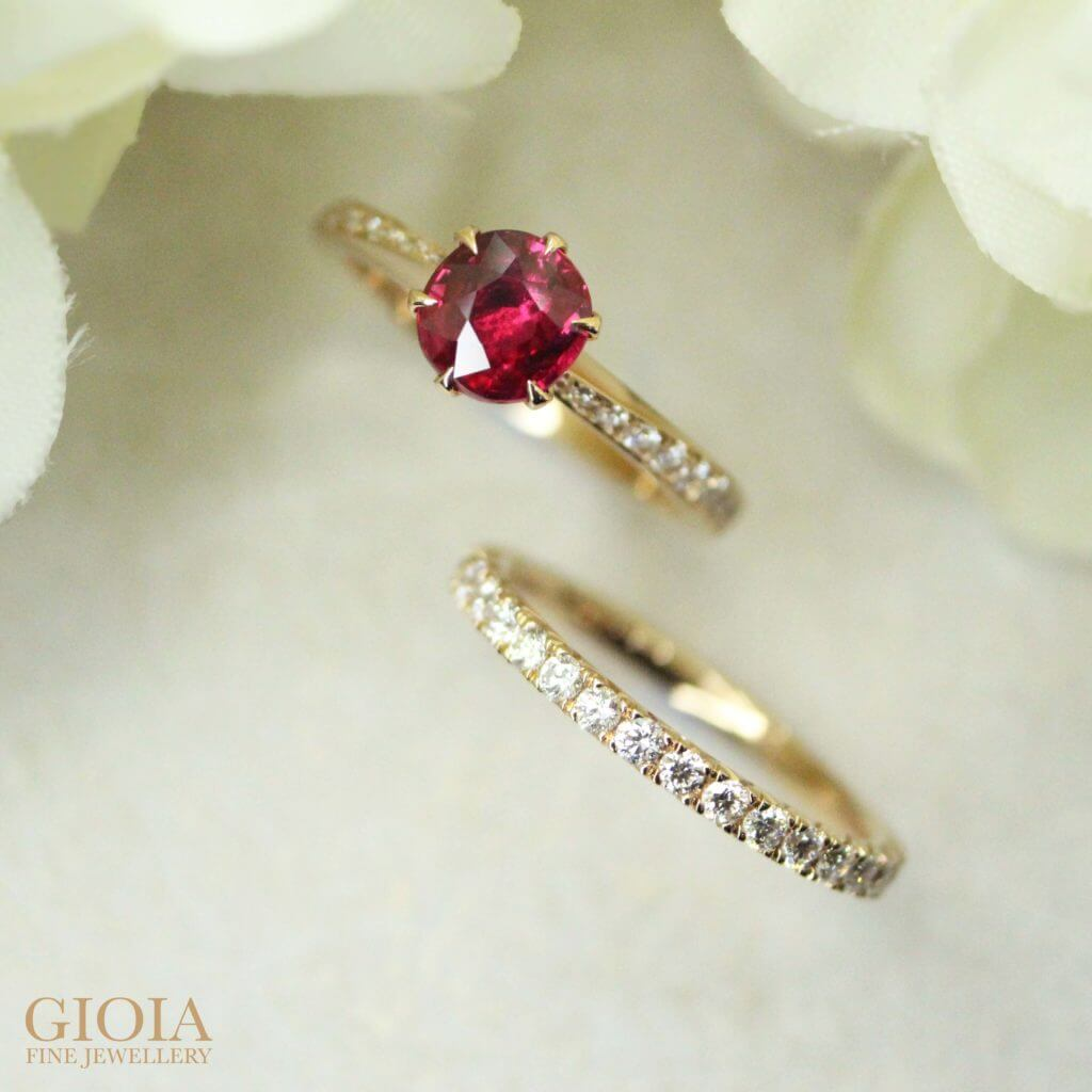 unheated ruby gemstone custom set for wedding engagement ring, and stackable with wedding bands ring | Local Singapore customised Jeweller in Wedding Jewellery