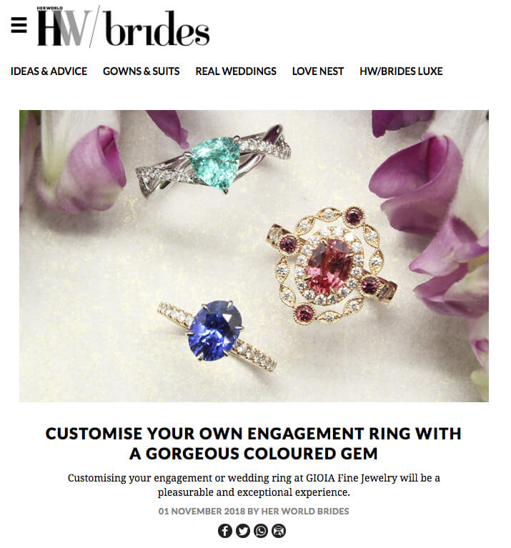 Customised Wedding Engagement Ring with coloured gemstone from sapphire, ruby, emerald to paraiba tourmaline and spinel | Local Singapore bespoke jeweller in wedding jewellery
