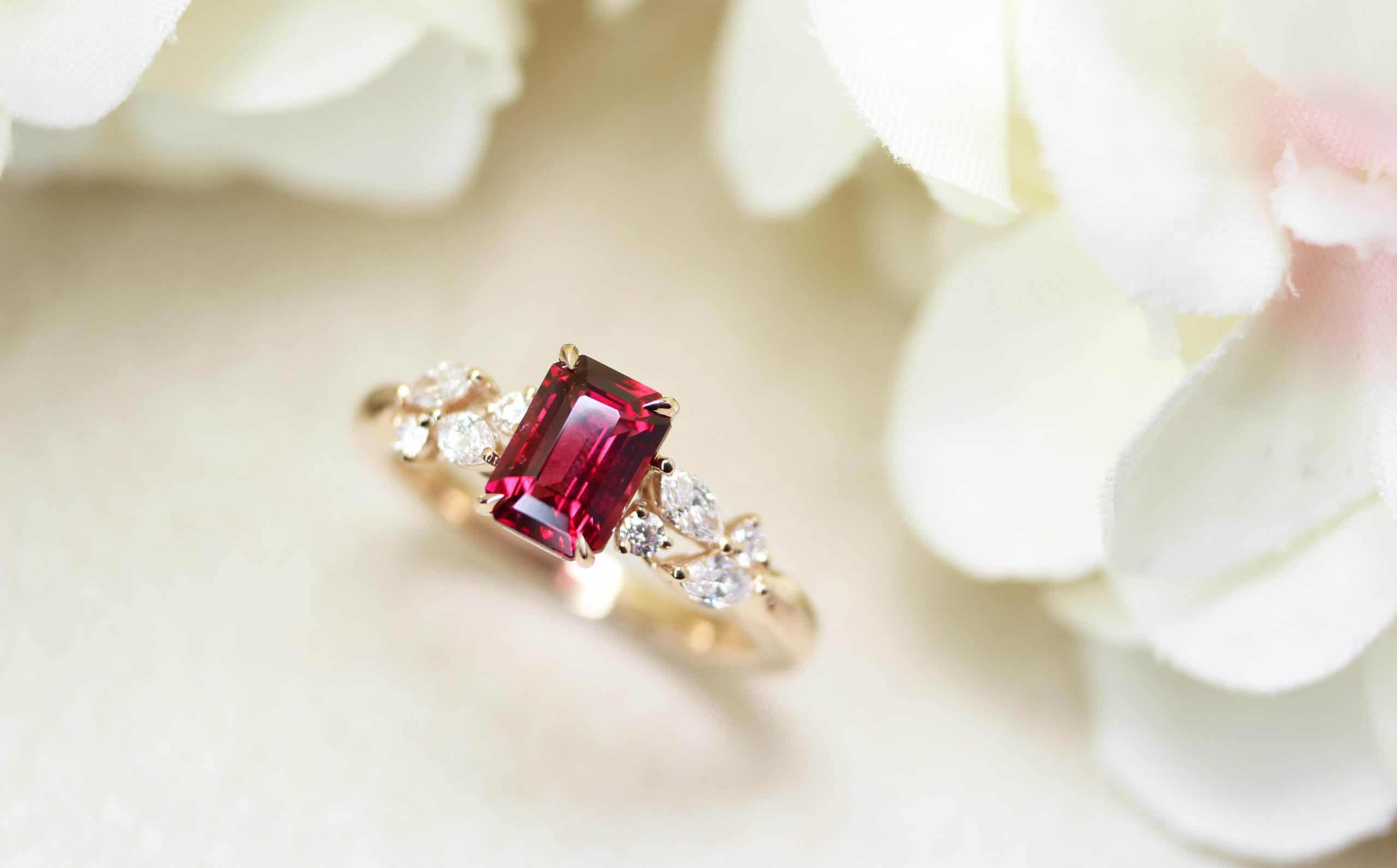 Customised Red Spinel Ring customised for a unique birthday - Red spinel coloured gemstone | Local Singapore Private Jewellery in customised coloured gemstone