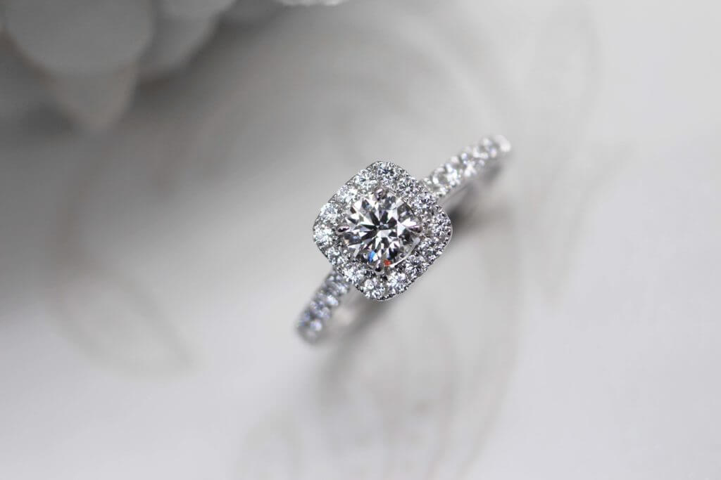 Diamond Ring w halo diamond around from existing diamond ring in prone setting to classic halo diamond ring | Local Singapore Customised in diamond jewellery