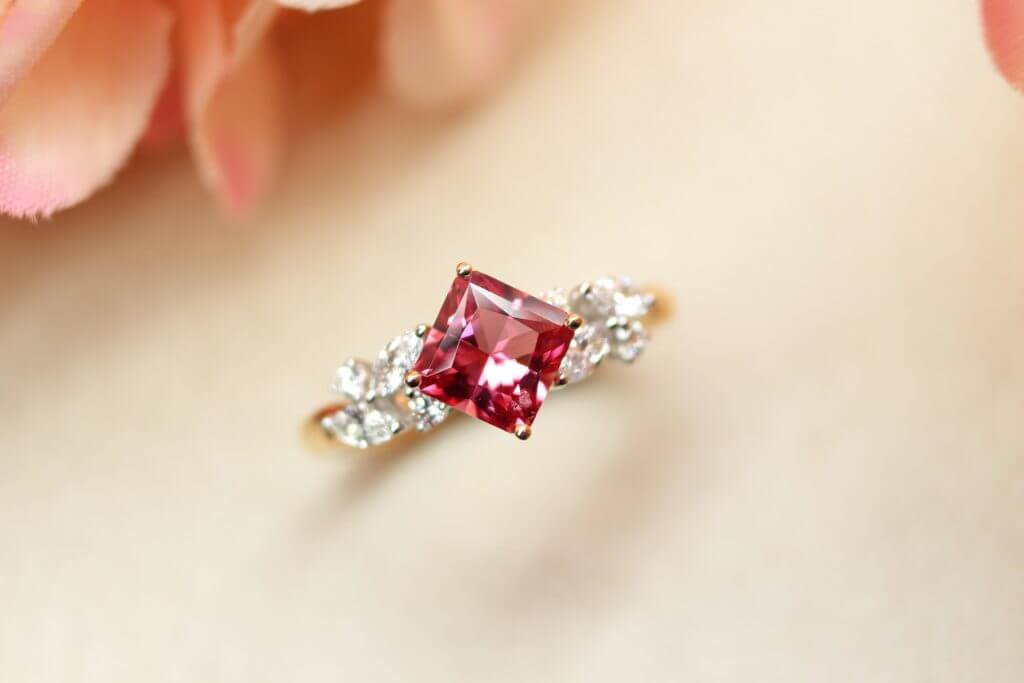 Red Princess cut Spinel Wedding Proposal Ring, unique customised engagement ring for proposal   Local Singapore bespoke Jeweller