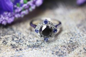 Customised Engagement Ring with Natural Black Diamond gem surrounded with Tanzanite Gemstone and round brilliant white diamond | Local Singapore Customised Wedding Jewellery with rare black diamond