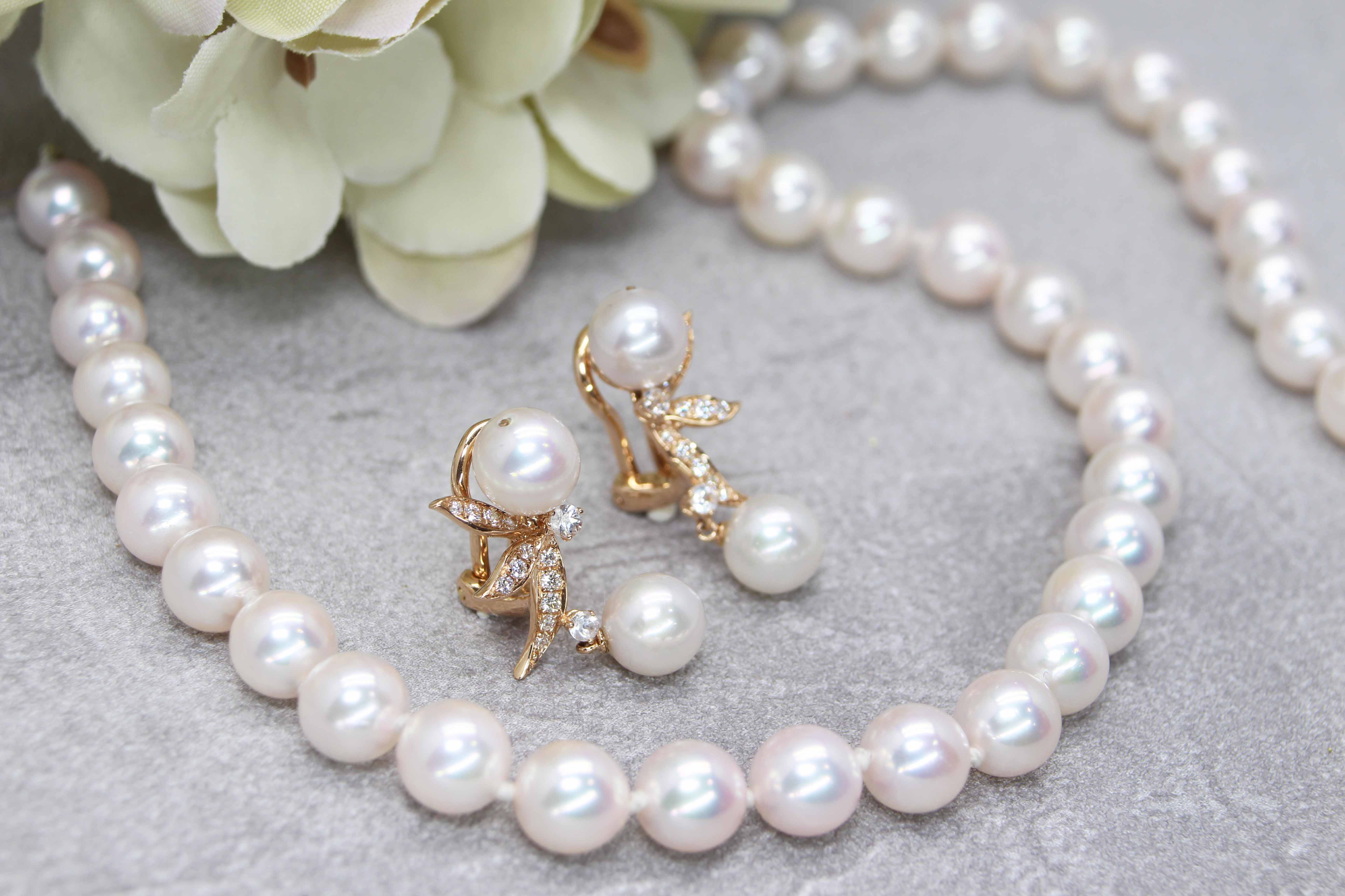 Customised Pearl Set Wedding Jewellery - Pearl Earring and Necklace customised to the wearer with akoya pearl   Lcoal Jewellery in Singapore customised wedding jewellery