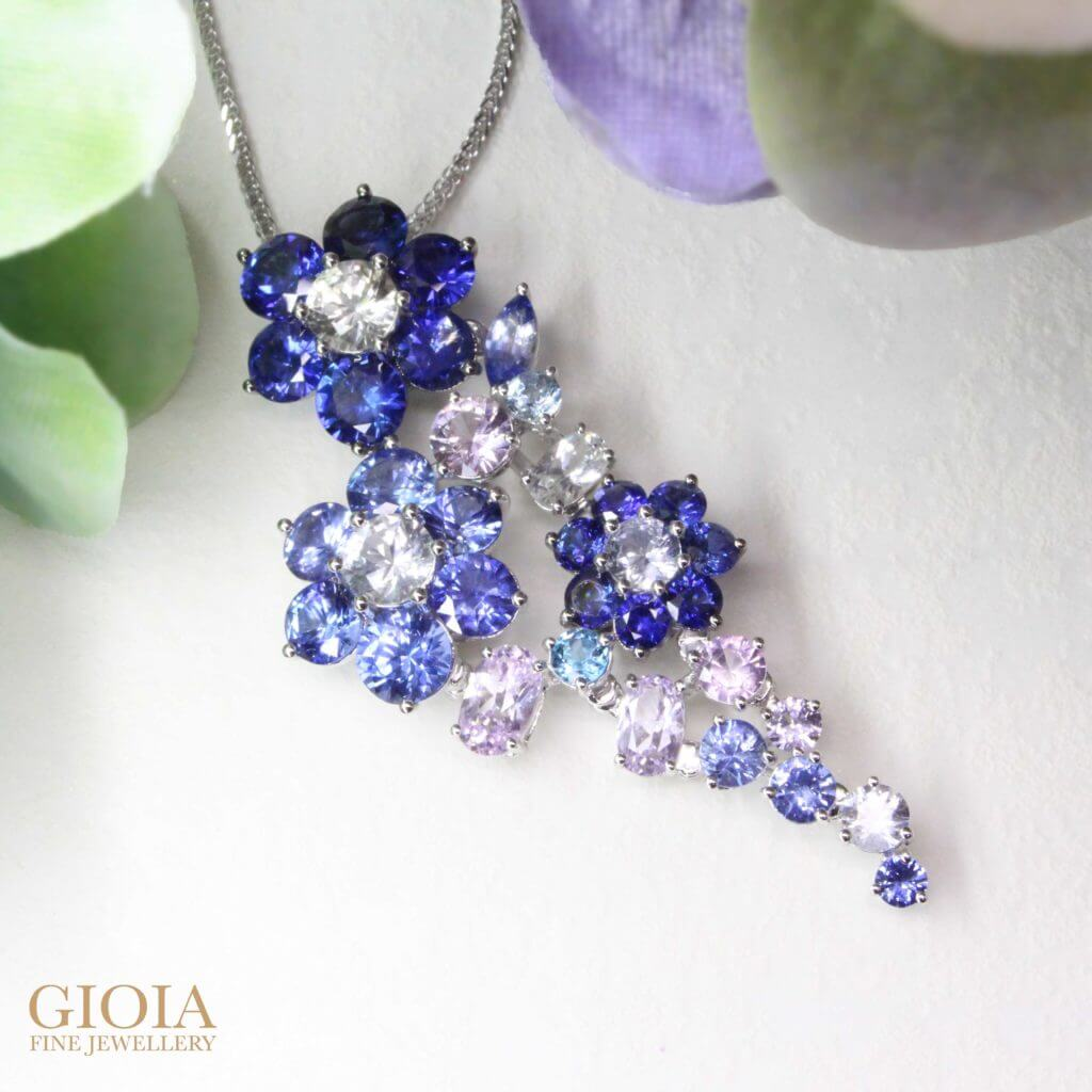 Customised jewellery with sapphire coloured gemstone, custom made to pendant and ring jewellery set. At GIOIA Fine Jewellery, we bring into reality the imagination of our customer, with pure passion and skilful artistry | Local Singapore Private Jeweller in Customised Jewellery