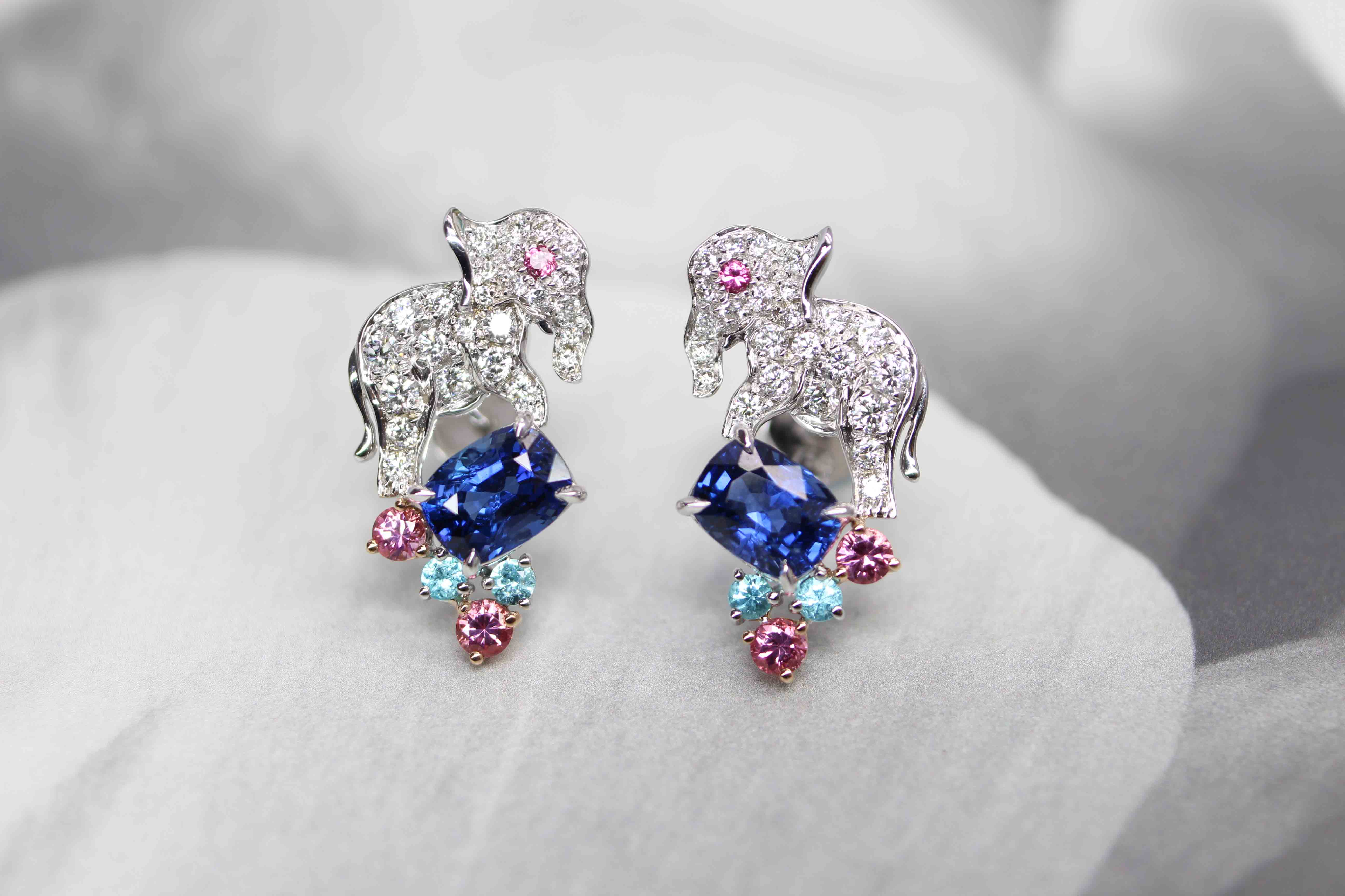 Customised Elephant Earring with Blue Sapphire unheat, Paraiba Tourmaline and Spinel gemstone, round diamond | Customised Fine Jewellery in unique natural animals and precious gemstone - Local Singapore Bespoke Customised Jewellery in Fine Jewellery